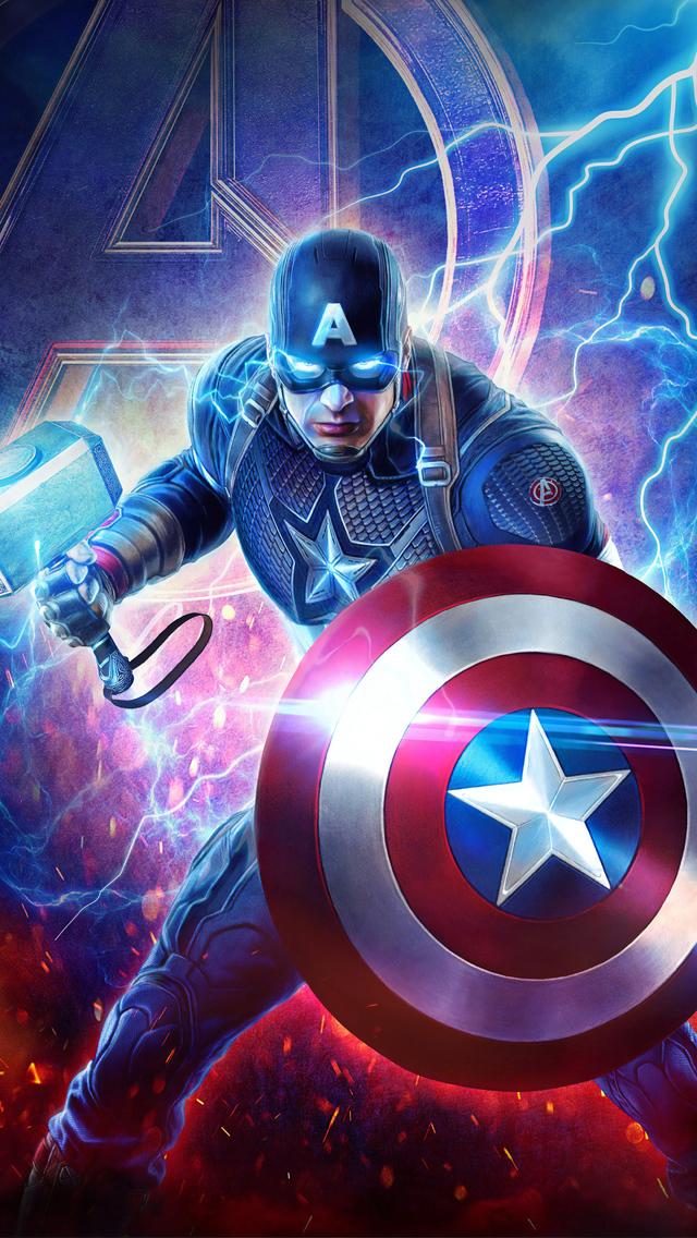 640x1136 2019 Captain America Mjolnir Avengers Endgame 4k ...