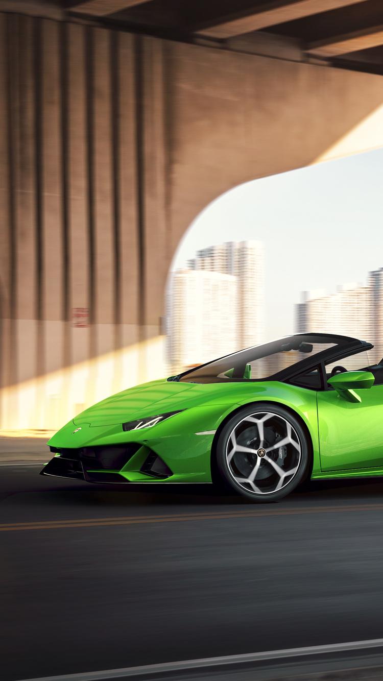 750x1334 2019 Lamborghini Huracan Evo Spyder Side View Iphone 6