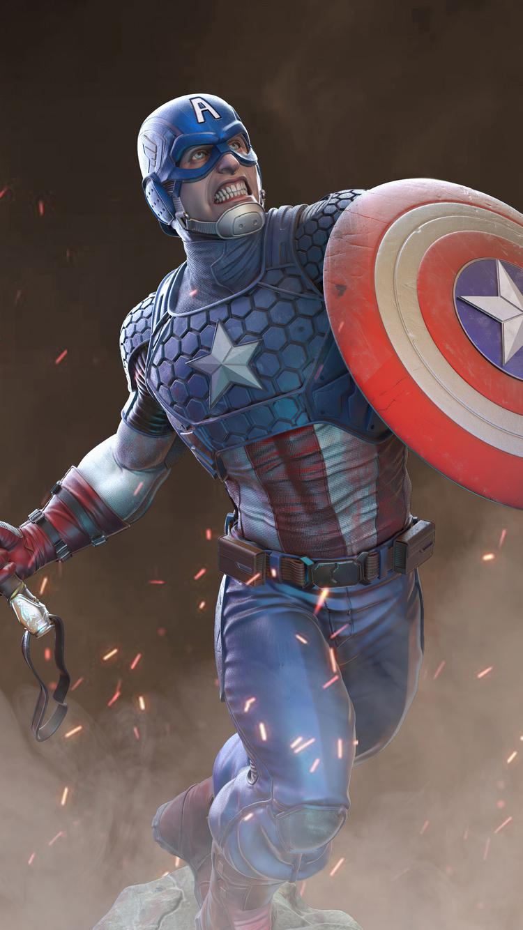 750x1334 2020 Captain America Artwork iPhone 6, iPhone 6S ...