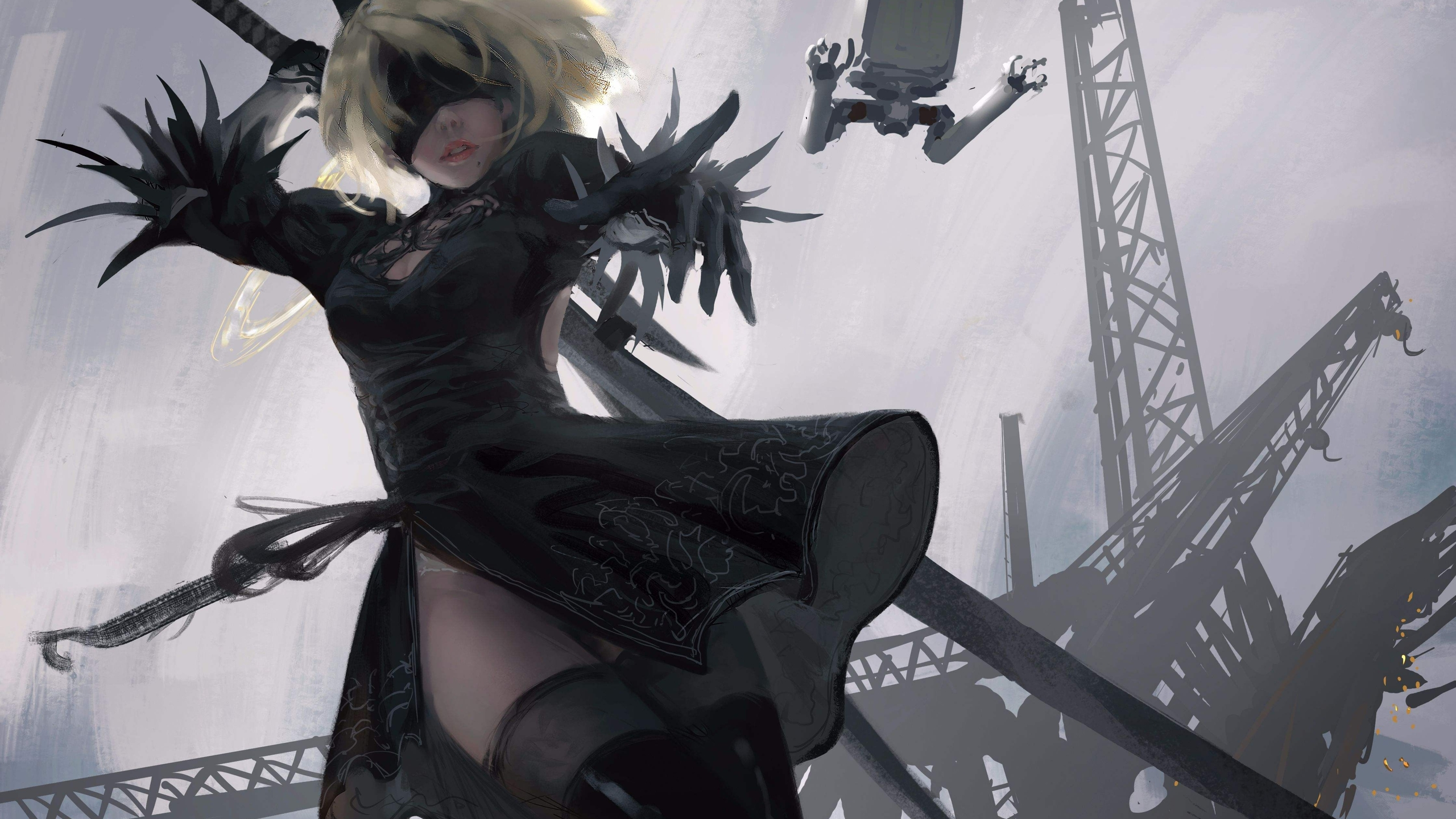 Nier Automata Fantasy Game Art Full Hd Wallpaper: 2560x1440 2b Nier Automata 4k 1440P Resolution HD 4k