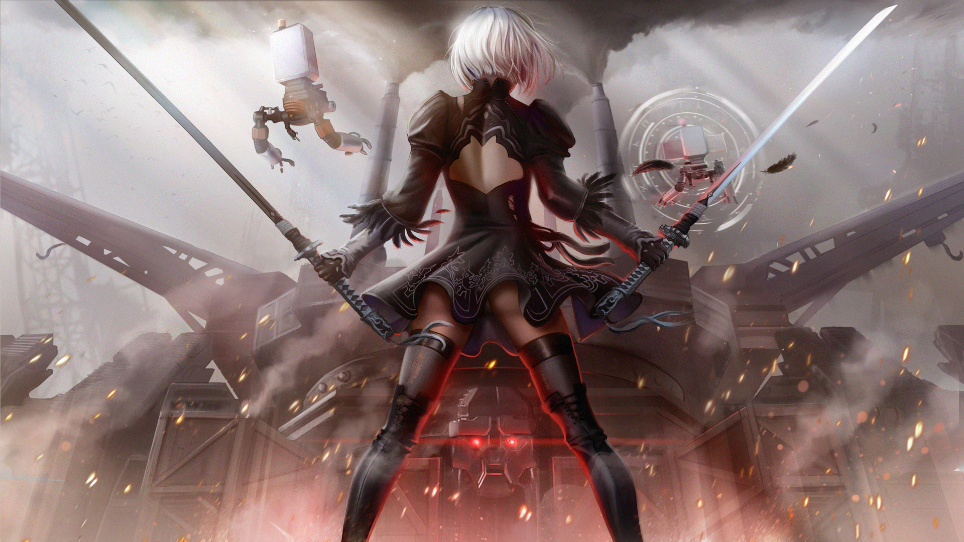 1920x1080 2b Nier Automata Art Laptop Full Hd 1080p Hd 4k Wallpapers Images Backgrounds Photos And Pictures