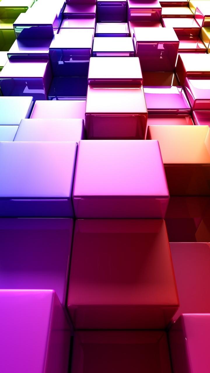 720x1280 3d Colorful Cubes Moto G X Xperia Z1 Z3 Pact