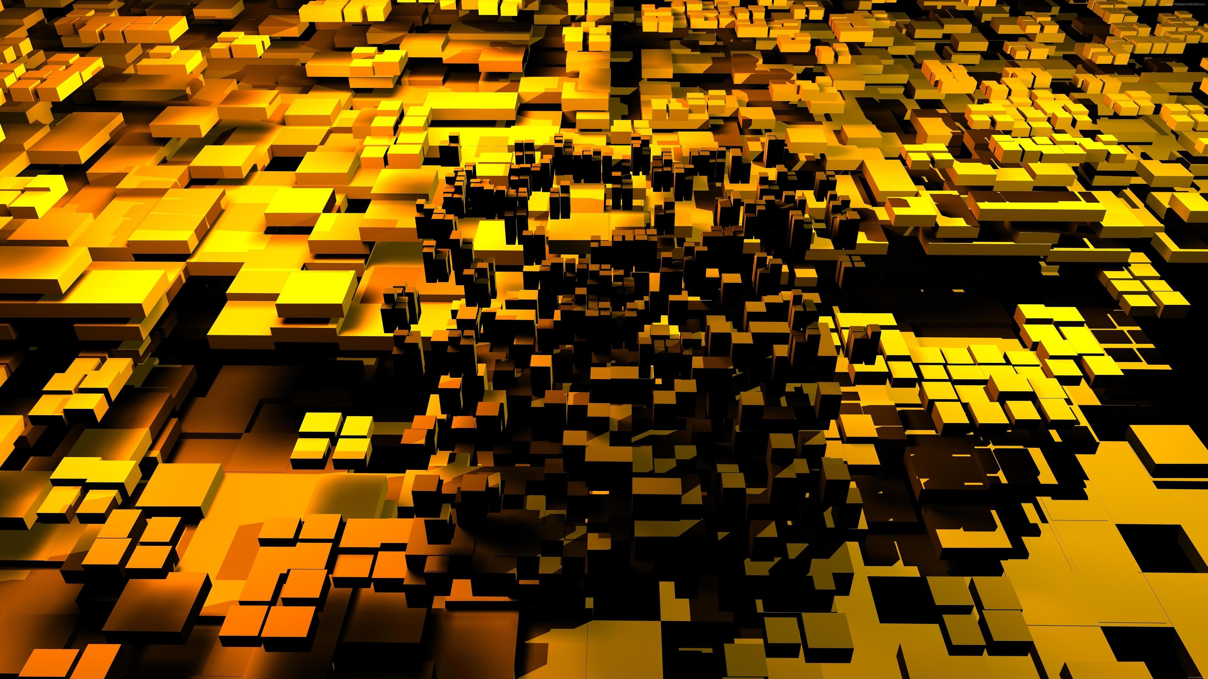 3840x2160 3d Cubes Gold 5k 4k Hd 4k Wallpapers Images