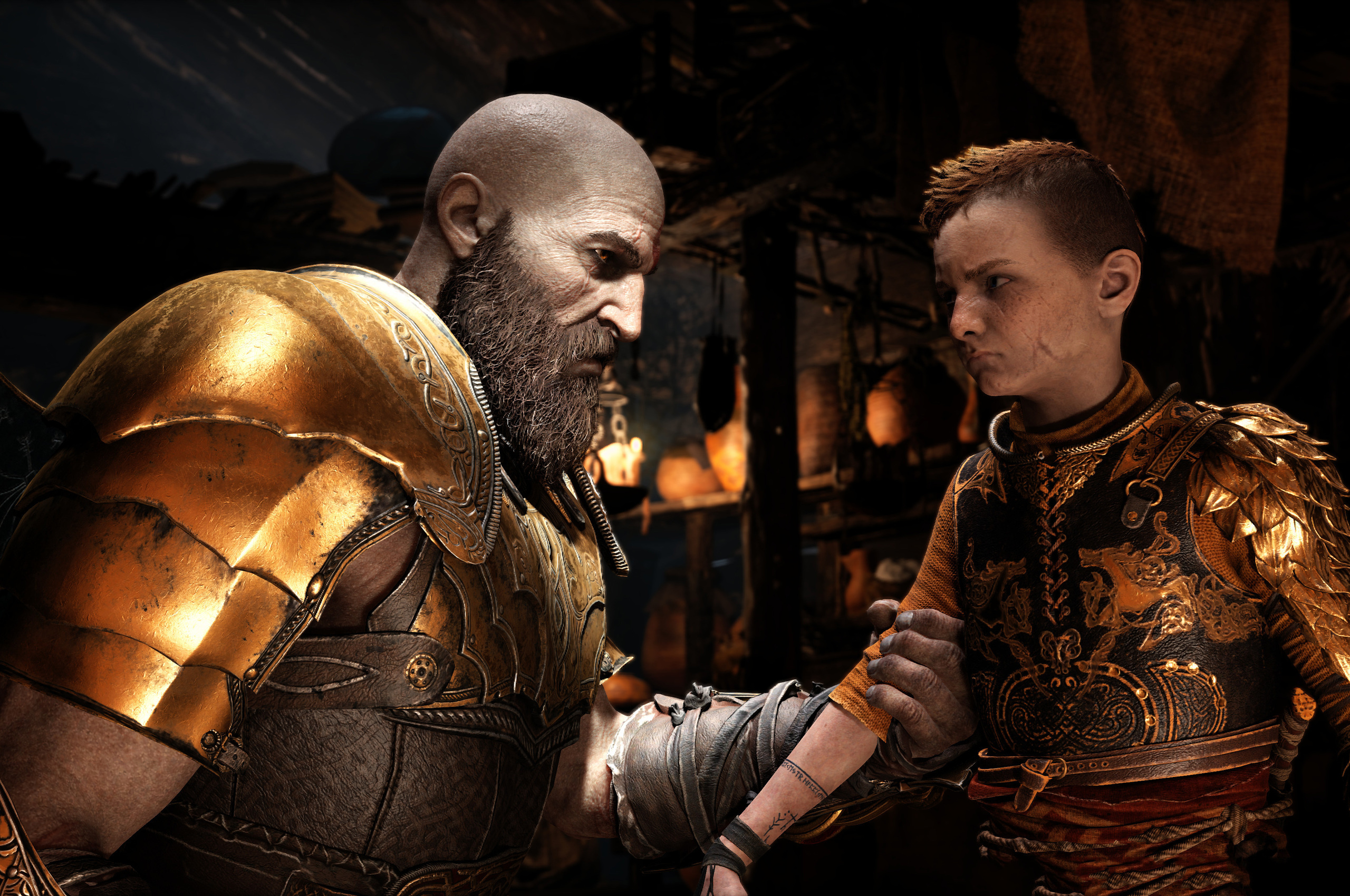 2560x1700 4k God Of War 4 Kratos And Atreus Chromebook Pixel