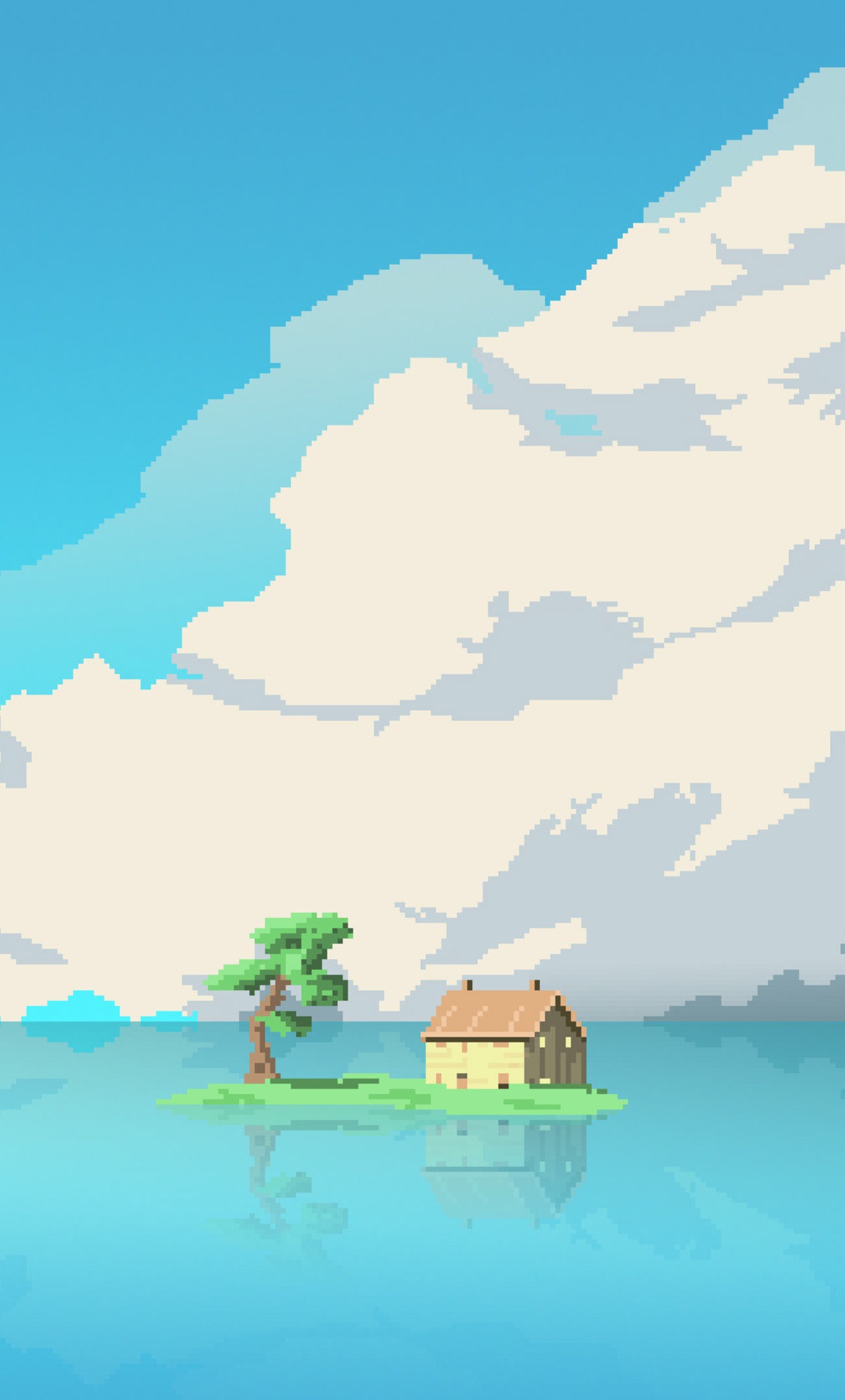 Great 8 Bit Artwork House Island In Middle Of Water (iPhone 6+)