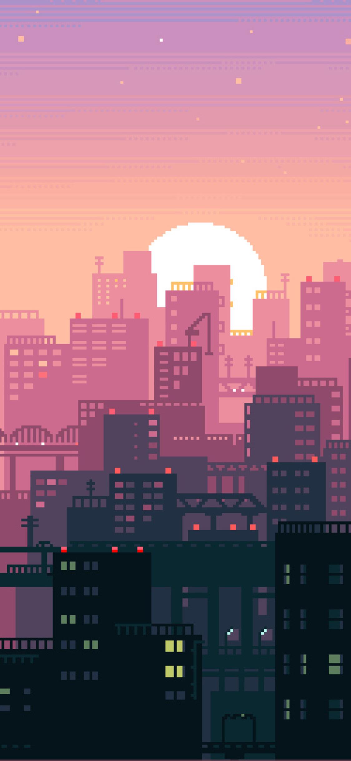 8 Bit Pixel Art City (Iphone XS,Iphone 10,Iphone X)