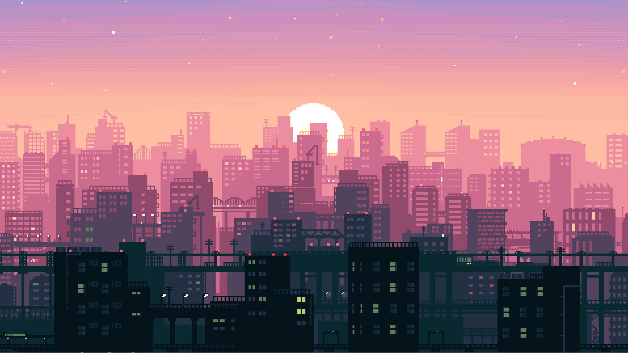 2048x1152 8 Bit Pixel Art City 2048x1152 Resolution Hd 4k