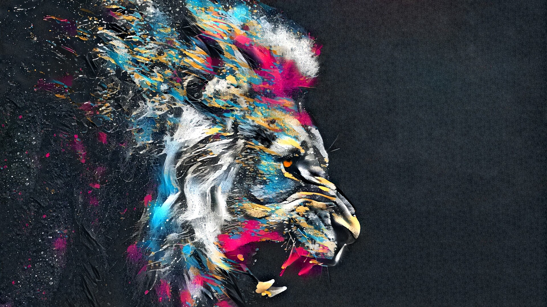 1920x1080 Abstracto Full Hd 1920x1080: 1920x1080 Abstract Artistic Colorful Lion Laptop Full HD