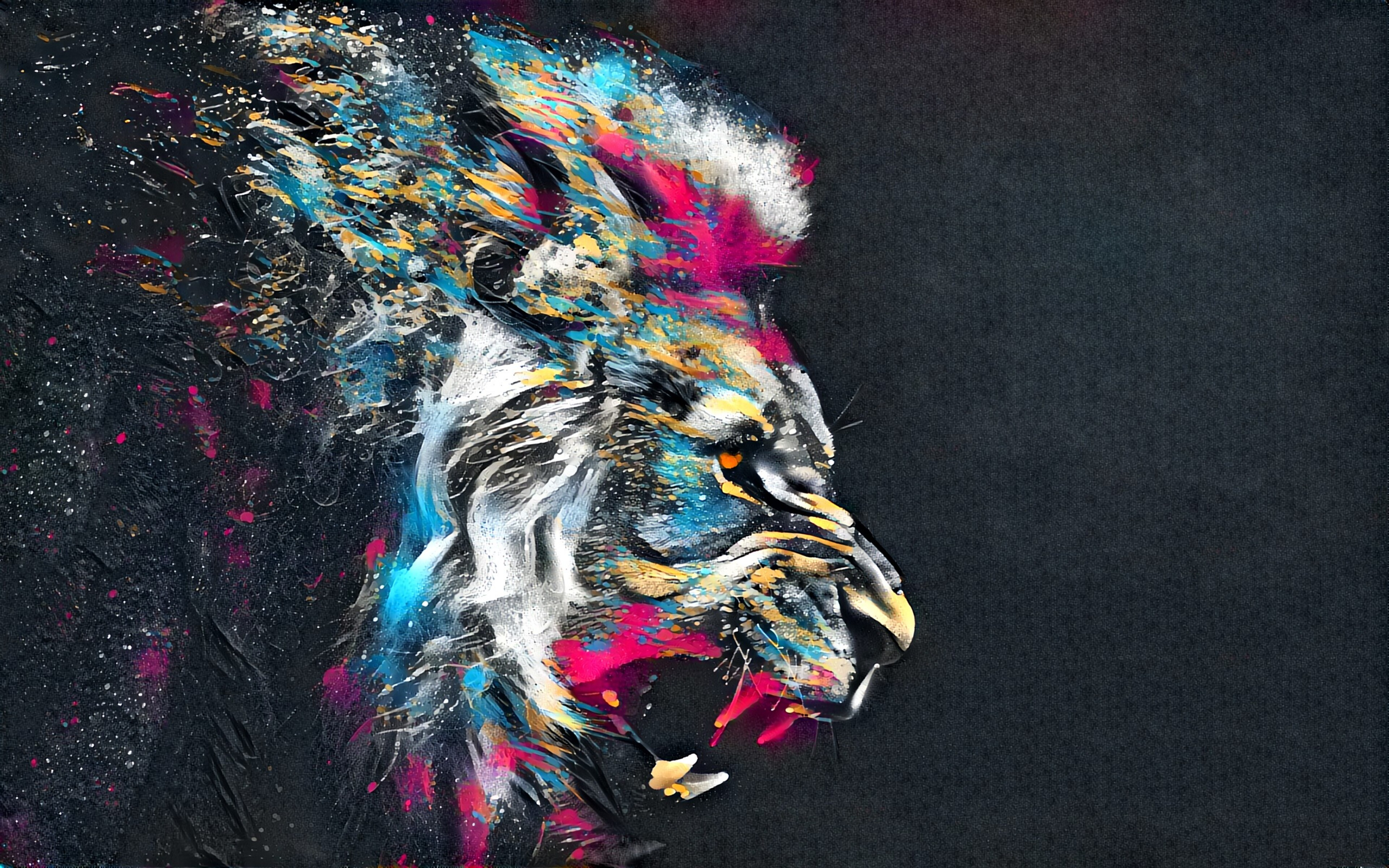 3840x2400 Abstract Artistic Colorful Lion 4k HD 4k ...