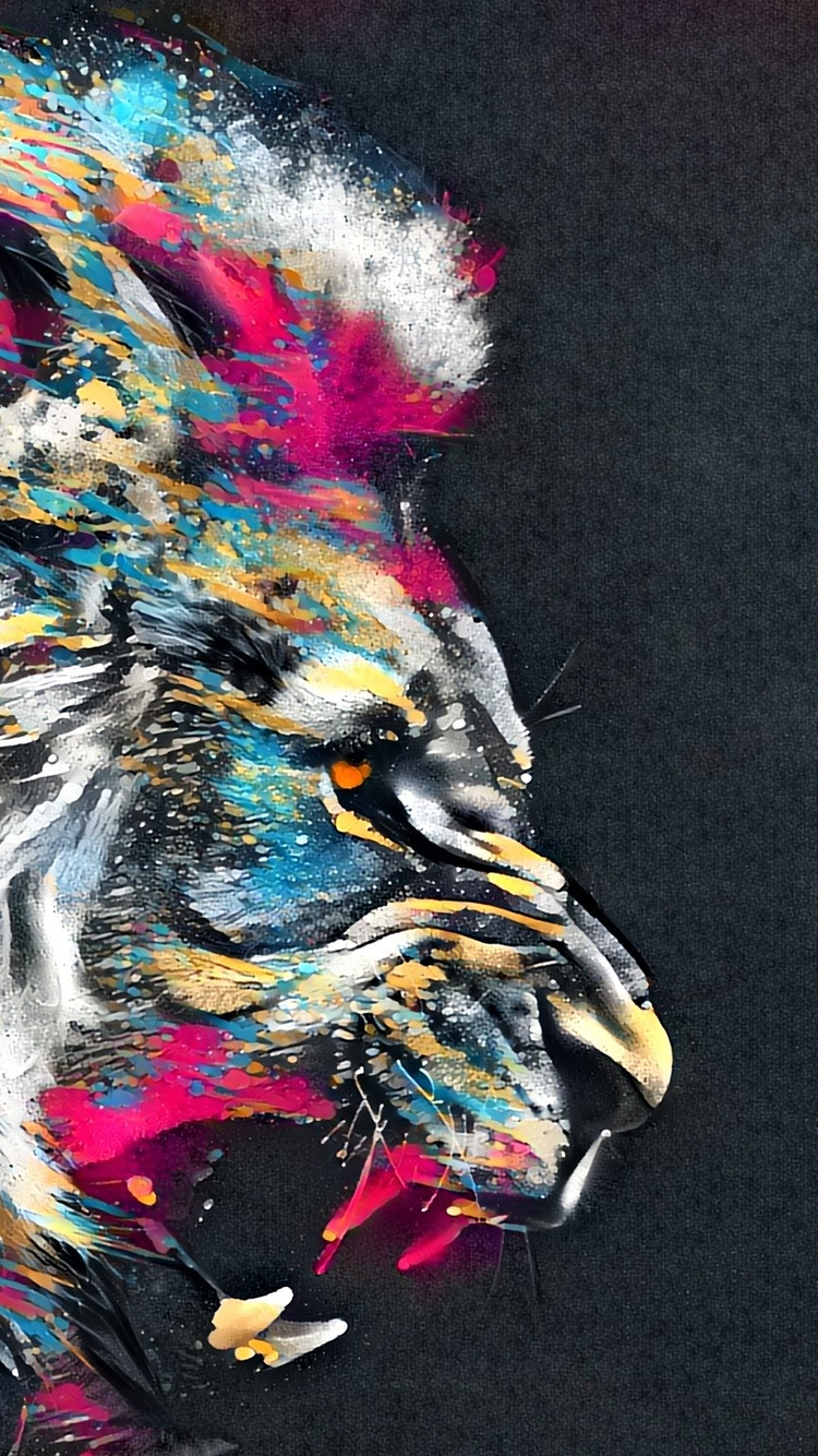 750x1334 Abstract Artistic Colorful Lion Iphone 6 Iphone 6s