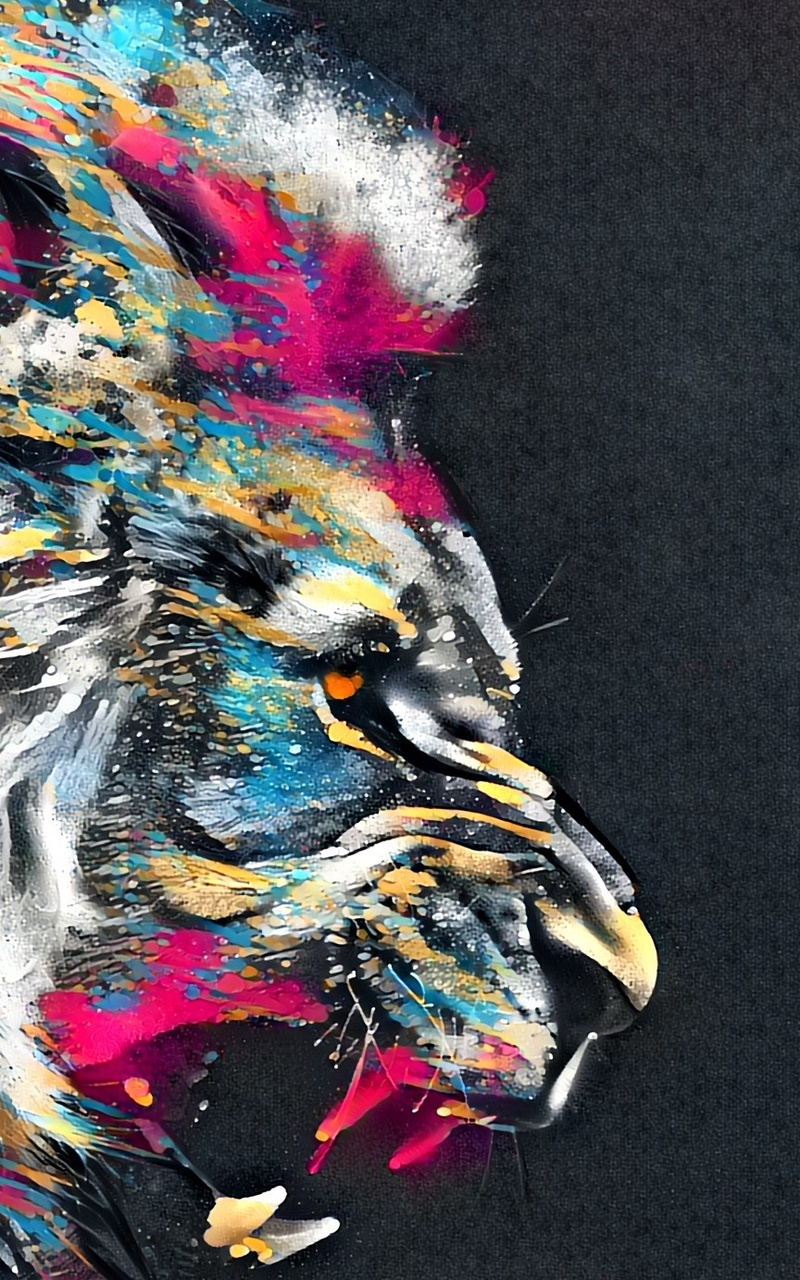 abstract artistic colorful lion 2m