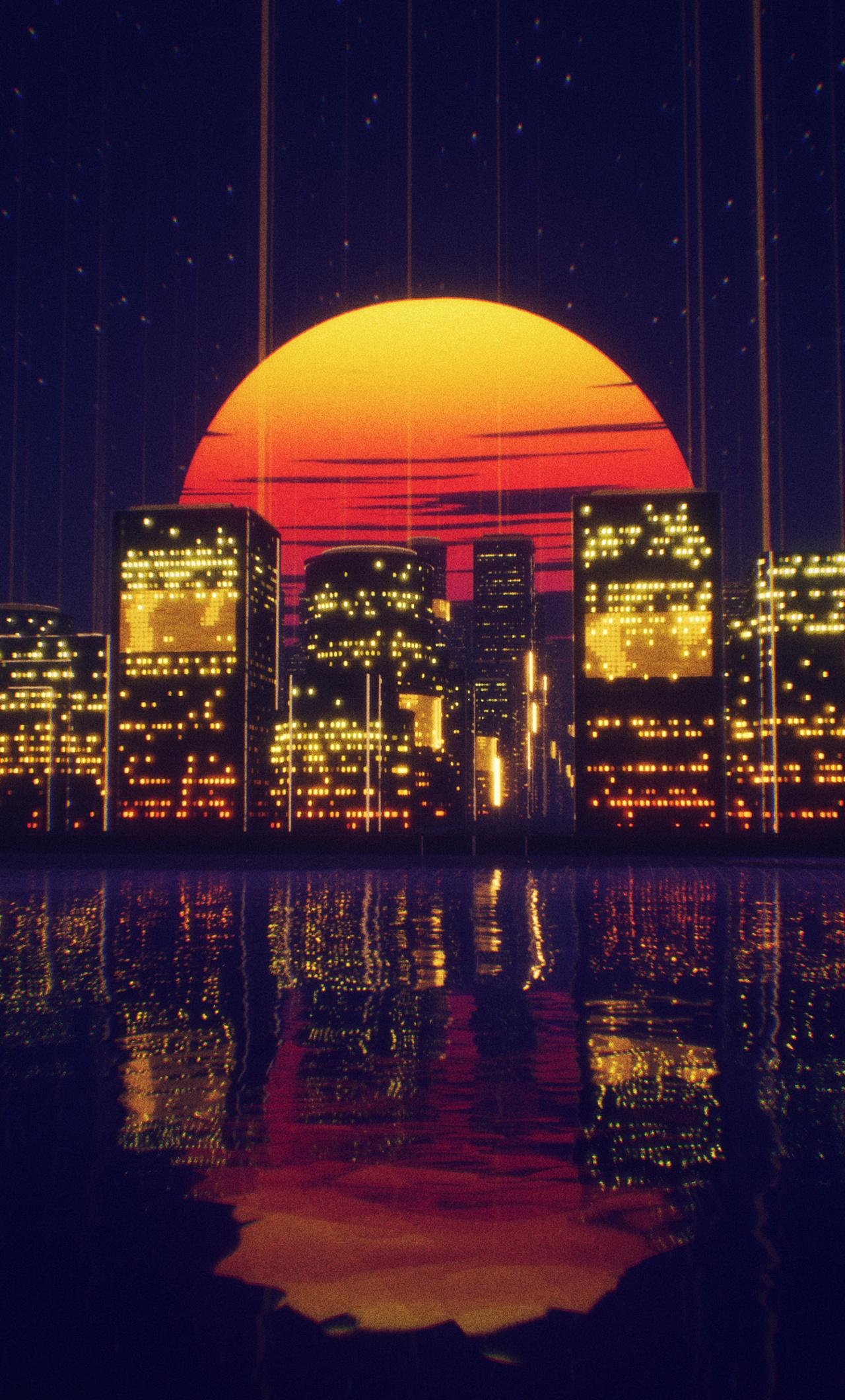 abstract city retro sunset night 4k xi