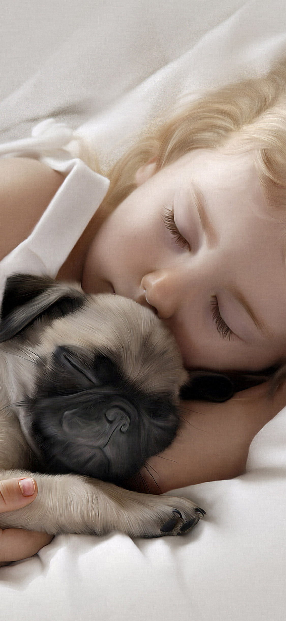 Adorable Little Girl Sleeping With Pug Puppy On