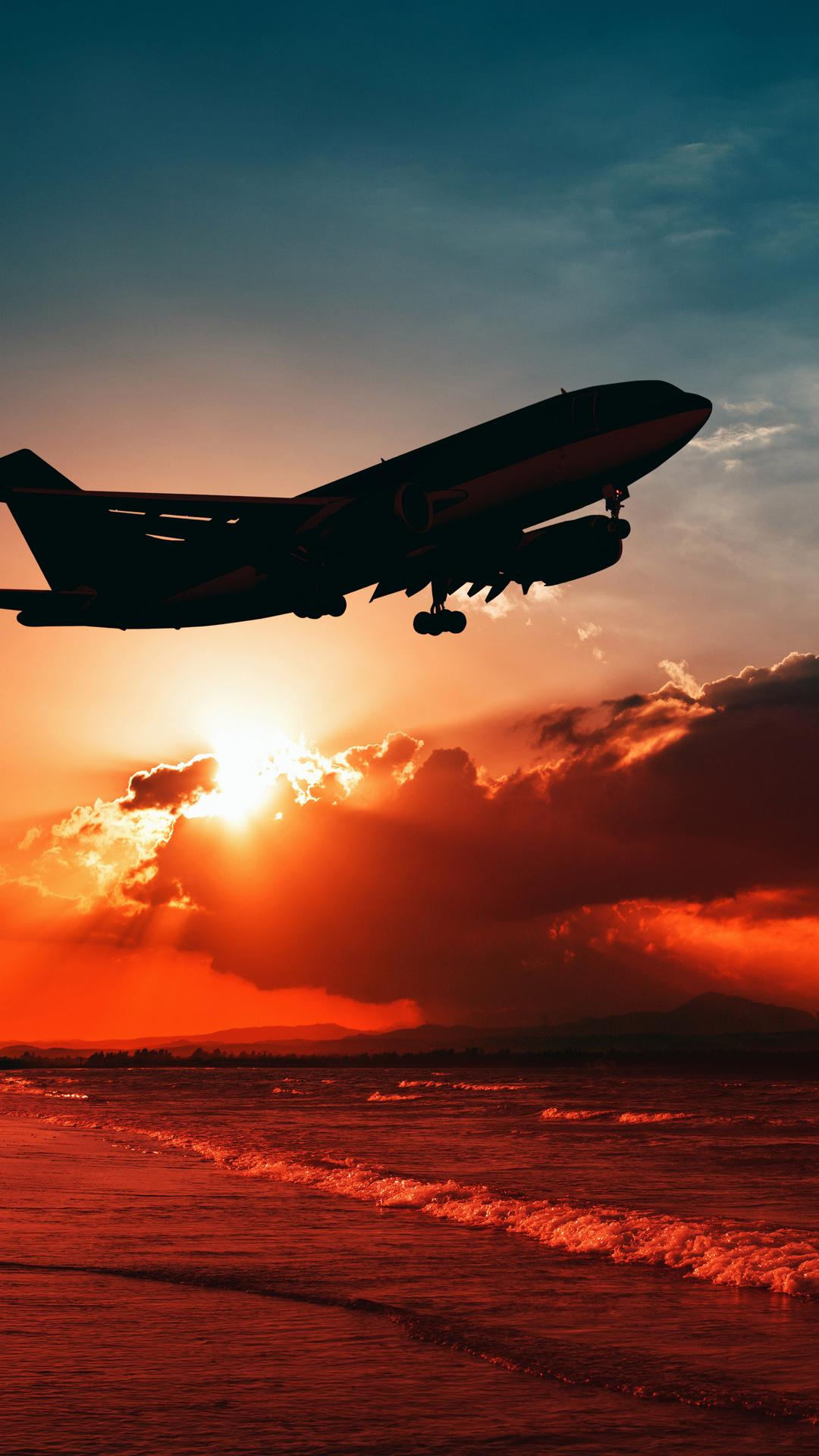 Airplane Flying Over Beach Shore Sunset 5k L9