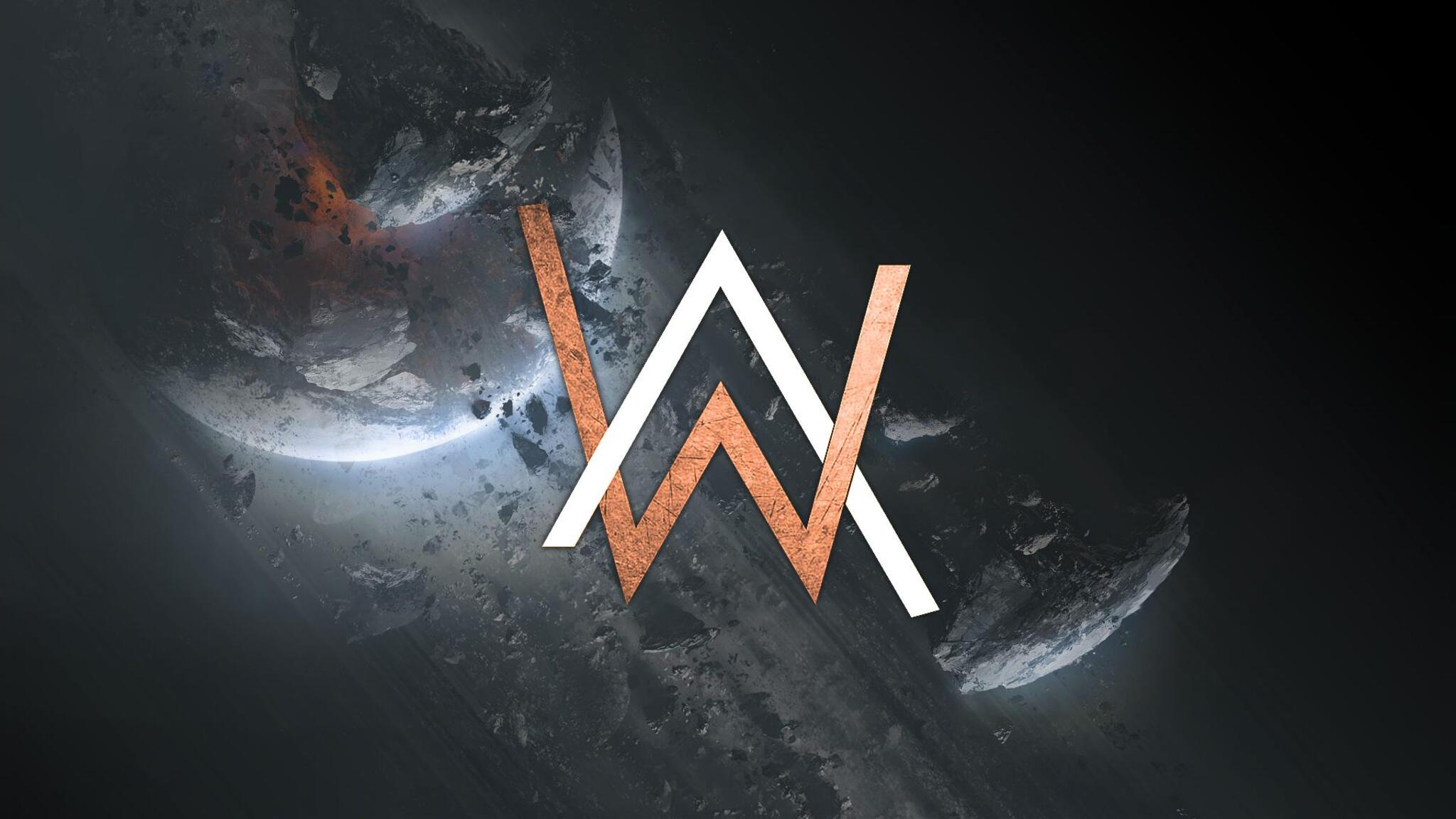 2048x1152 alan walker creative logo 2048x1152 resolution hd 4k wallpapers images backgrounds - Alan walker logo galaxy ...