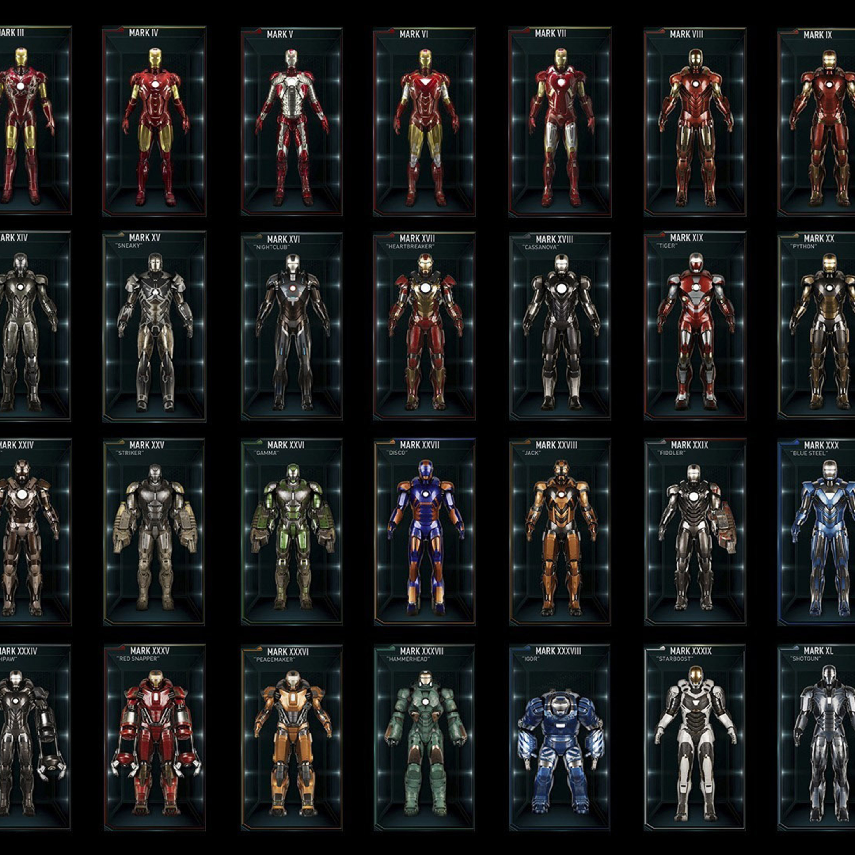 2932x2932 all iron man suits ipad pro retina display hd 4k for Sfondi iron man
