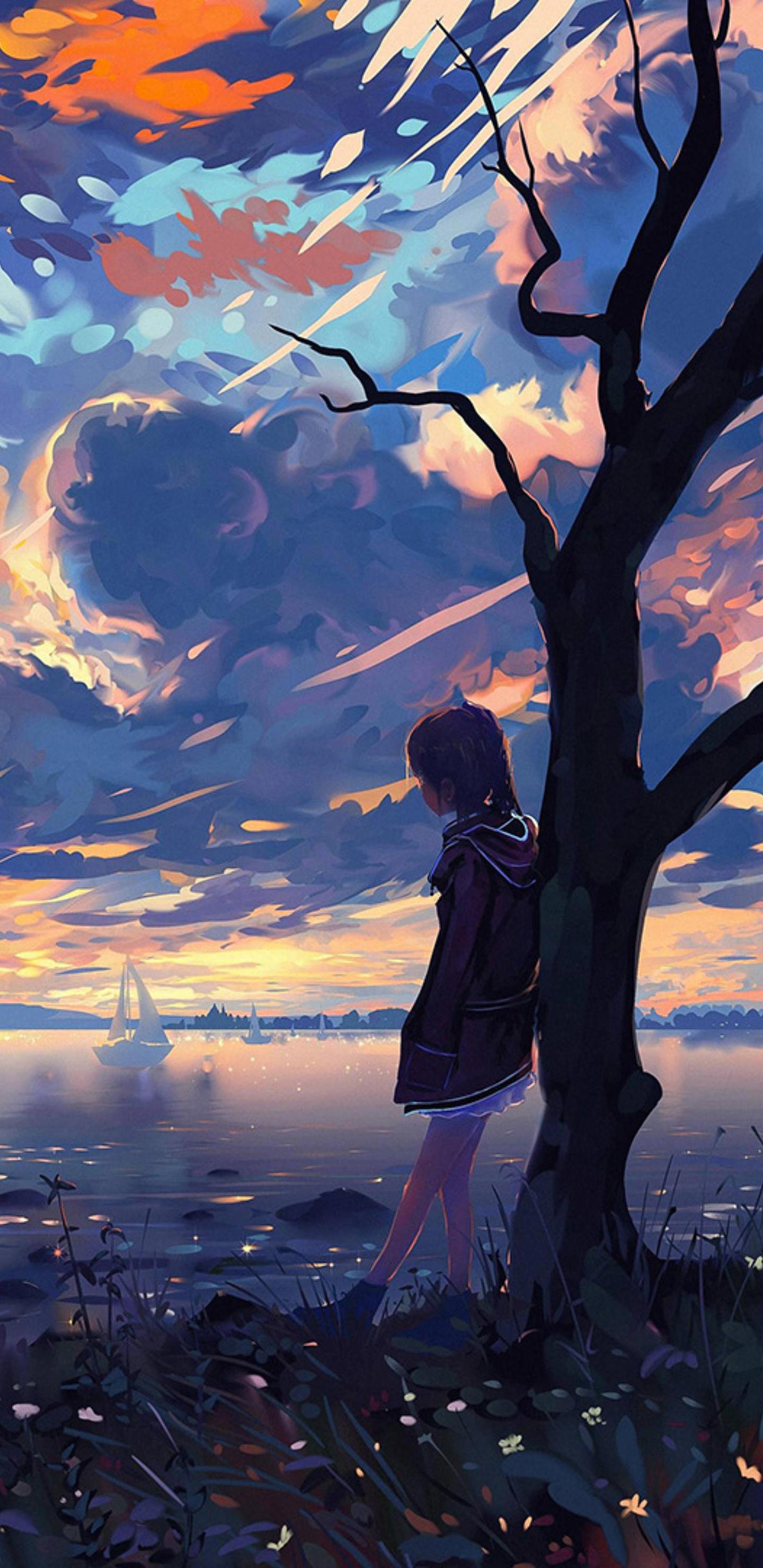 Alone boy standing near coast boats samsung galaxy note 98 s9s8s8 qhd