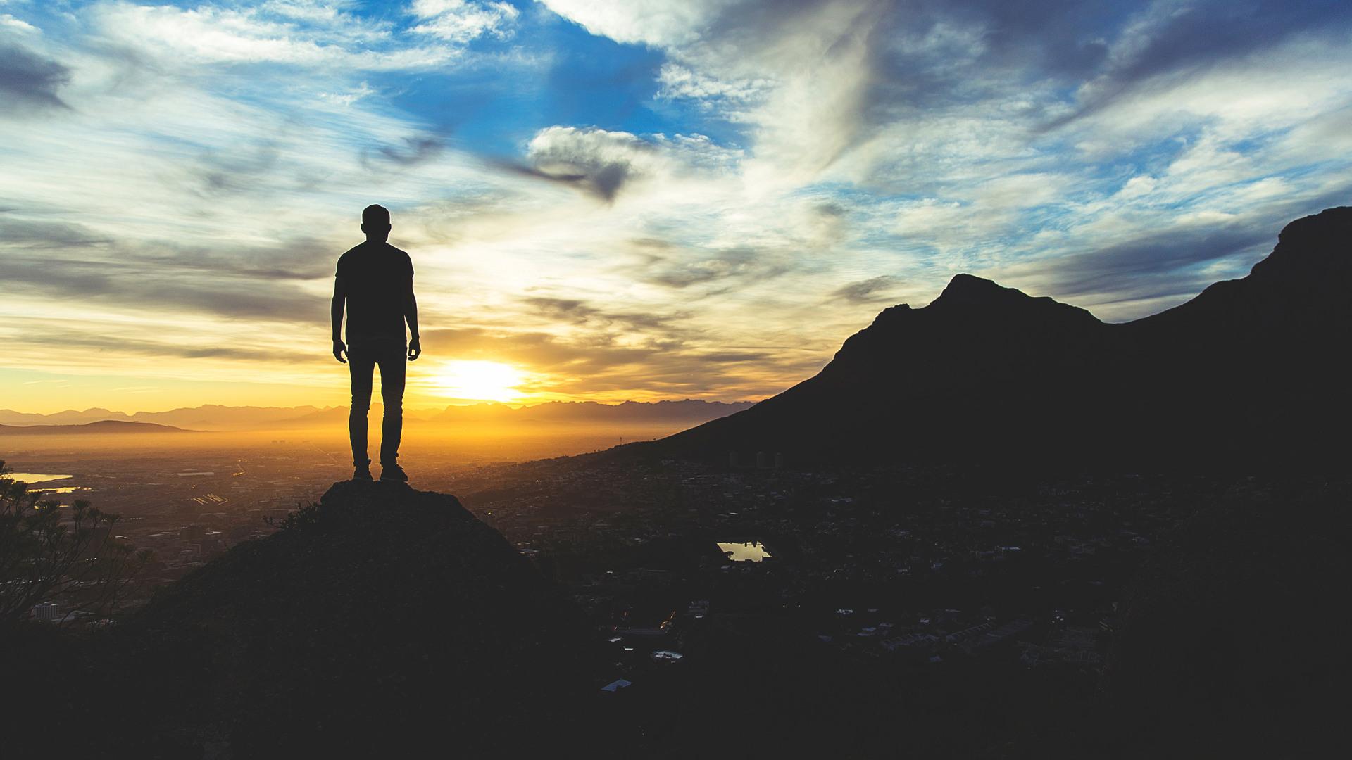 Alone Man At Sunset Sky Hill Do