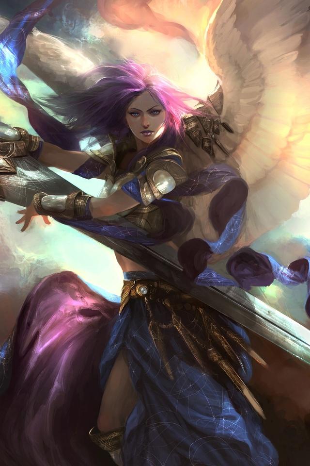 640x960 angel warrior artwork iphone 4 iphone 4s hd 4k wallpapers