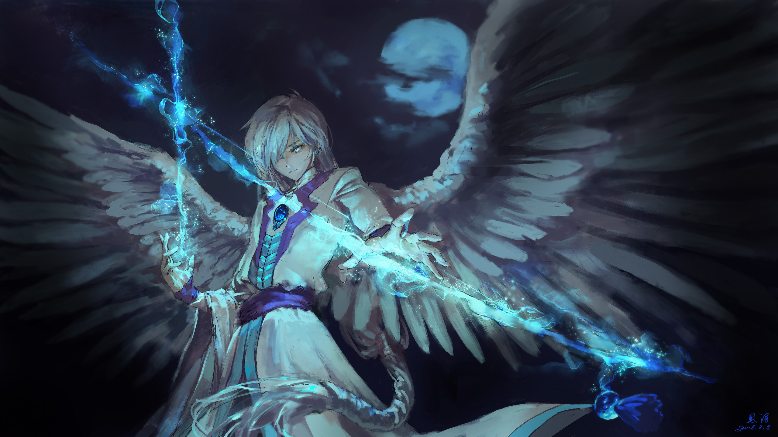 2560x1440 Anime Angel Boy With Magical Arrow 1440P ...