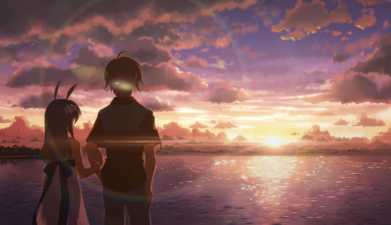 Anime Boy And Girl 1336x768 anime boy and girl alone laptop hd hd 4k wallpapers