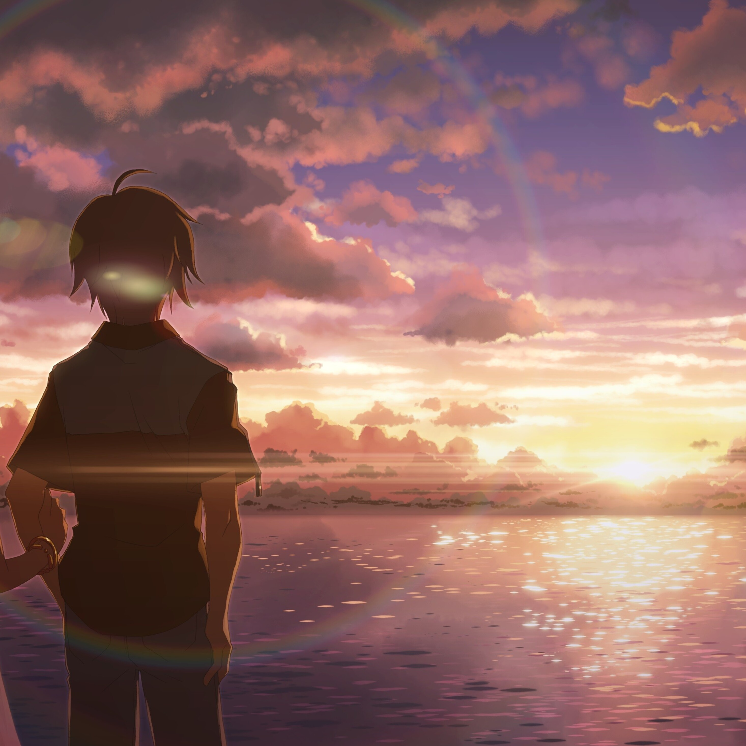 2932x2932 anime boy and girl alone ipad pro retina display - Anime girl picture download ...
