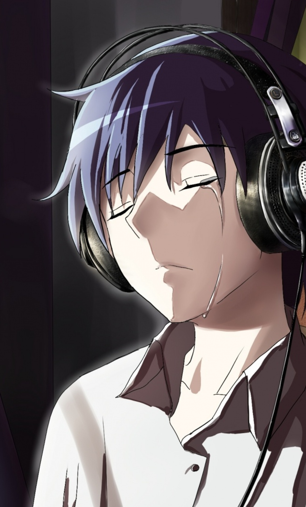 1280x2120 anime boy crying in front of apple laptop iphone - Anime boy hd wallpaper ...