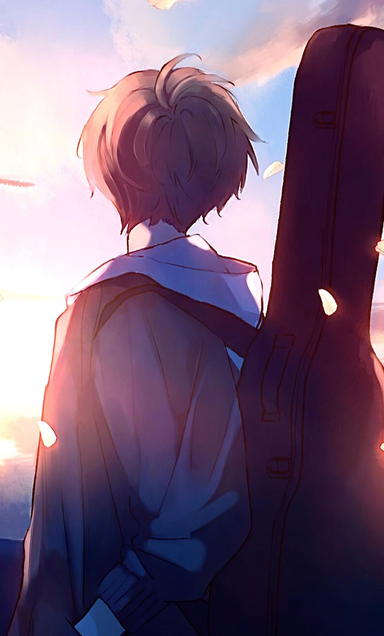 anime boy guitar painting j9