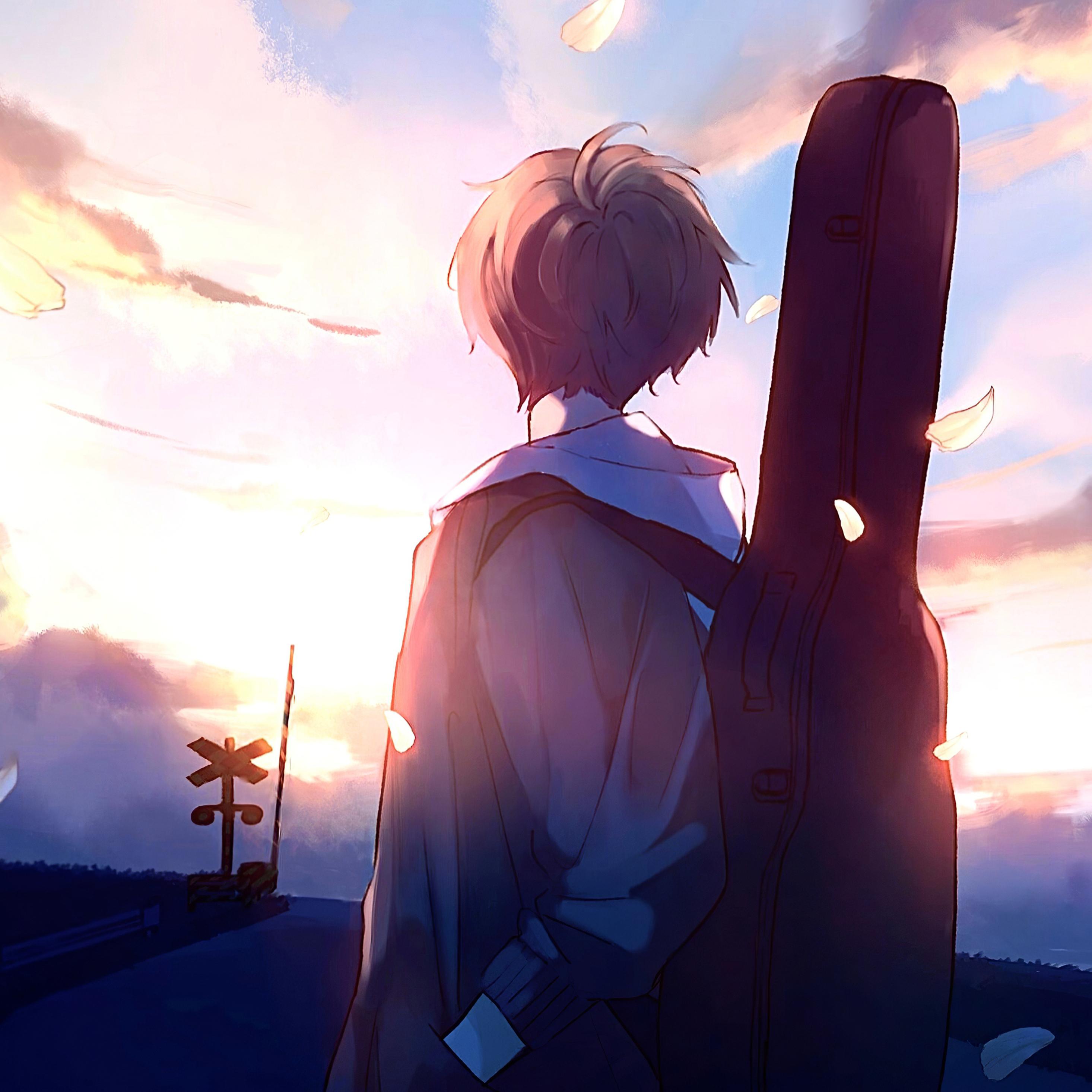 2932x2932 Anime Boy Guitar Painting Ipad Pro Retina Display Hd 4k