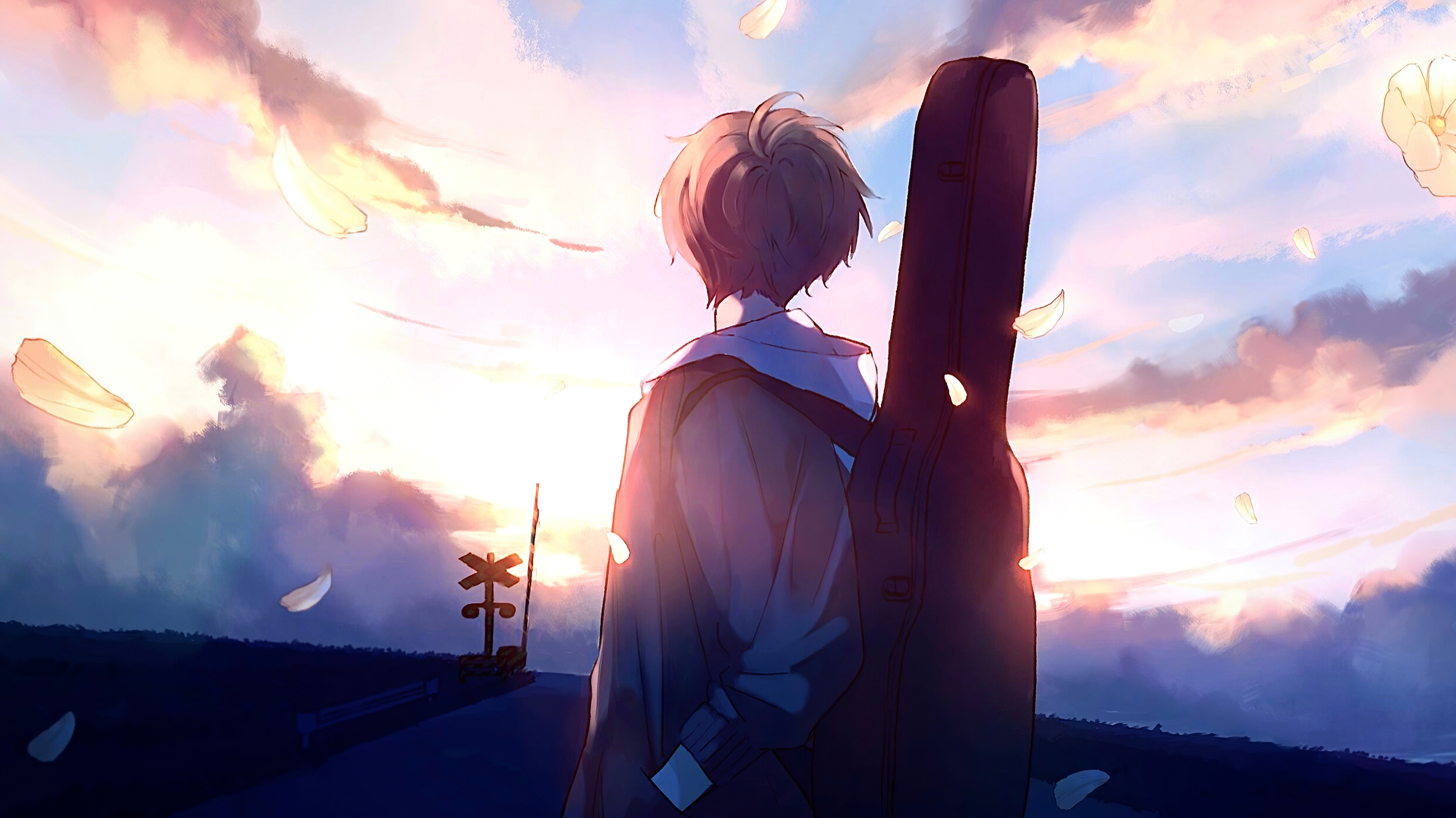 3840x2160 Anime Boy Guitar Painting 4k HD 4k Wallpapers ...