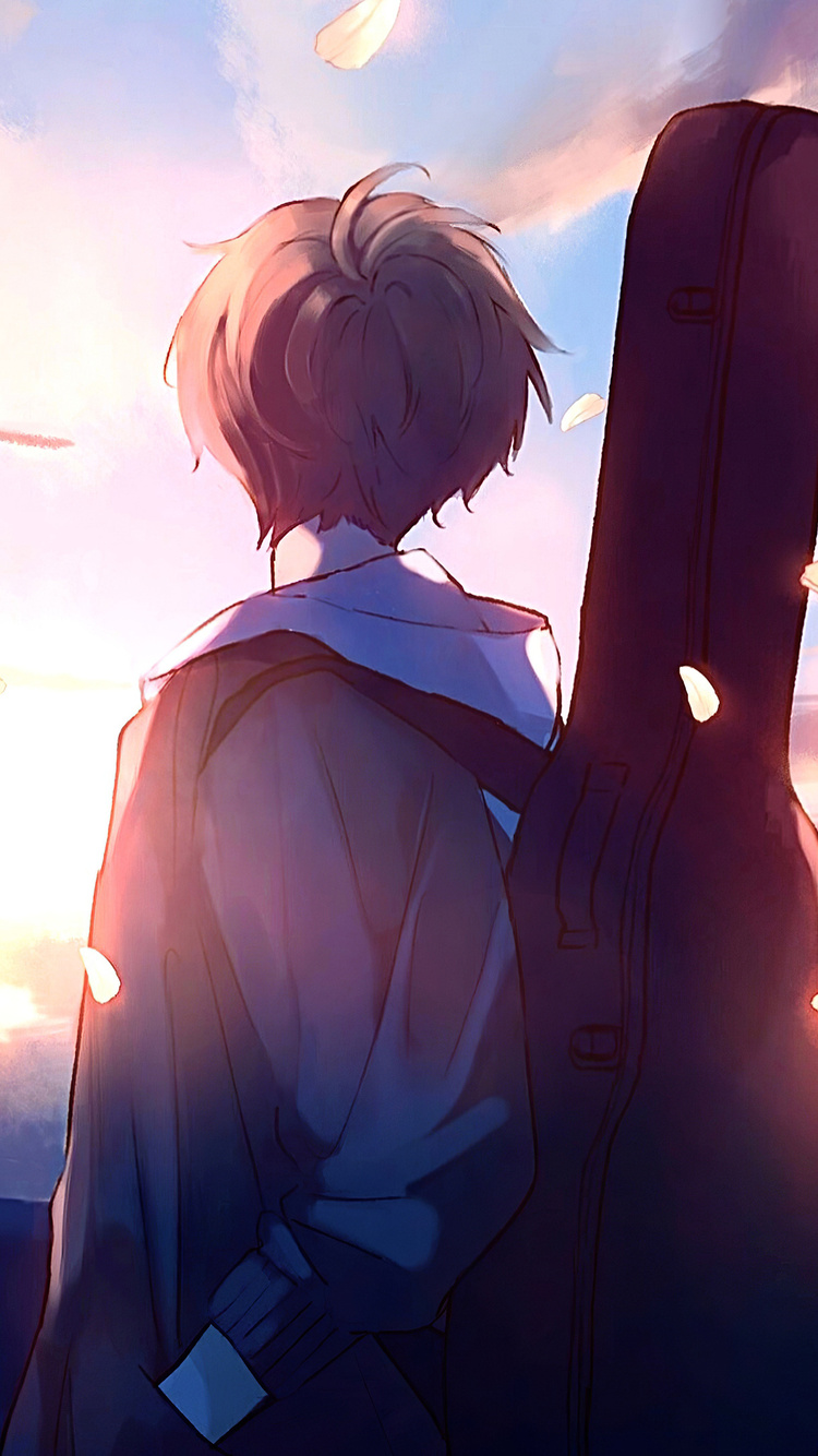 750x1334 Anime Boy Guitar Painting Iphone 6 Iphone 6s Iphone 7 Hd 4k Wallpapers Images Backgrounds Photos And Pictures