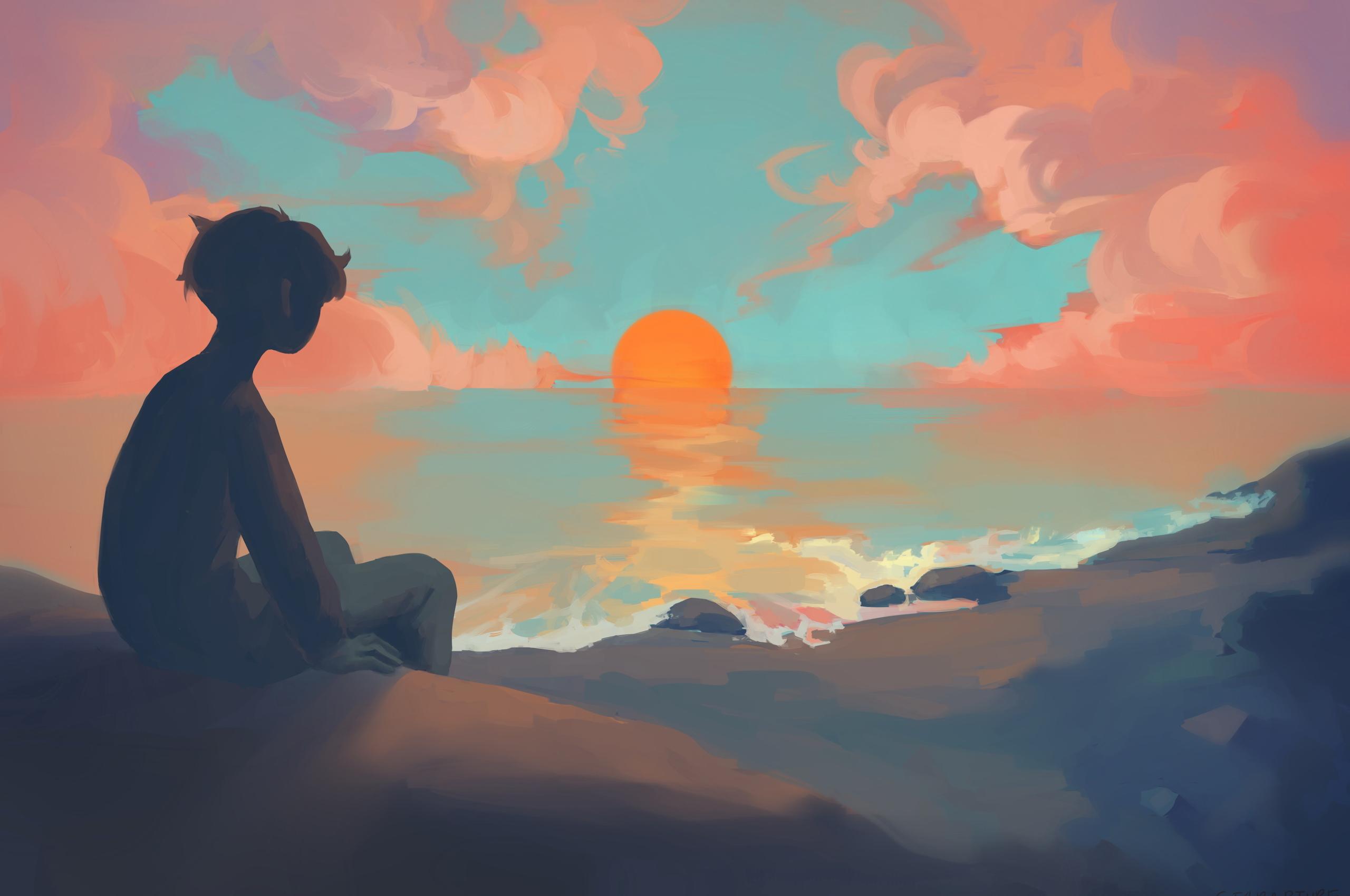 2560x1700 Anime Boy Sitting Watching Sunset Chromebook Pixel Hd 4k