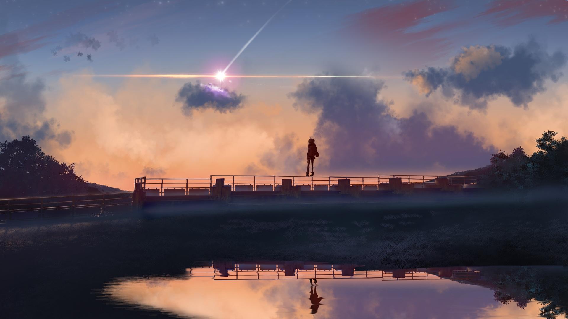 1920x1080 Anime Boy Standing On Bridge 4k Laptop Full Hd