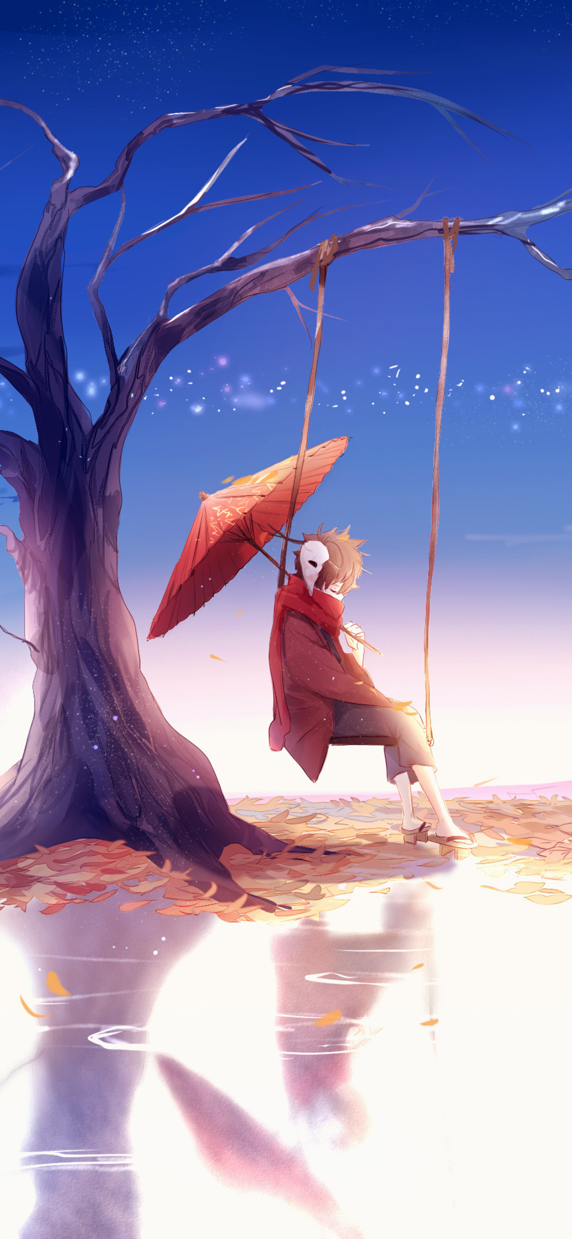 1125x2436 Anime Boy Swing Umbrella 4k Iphone Xs Iphone 10 Iphone X