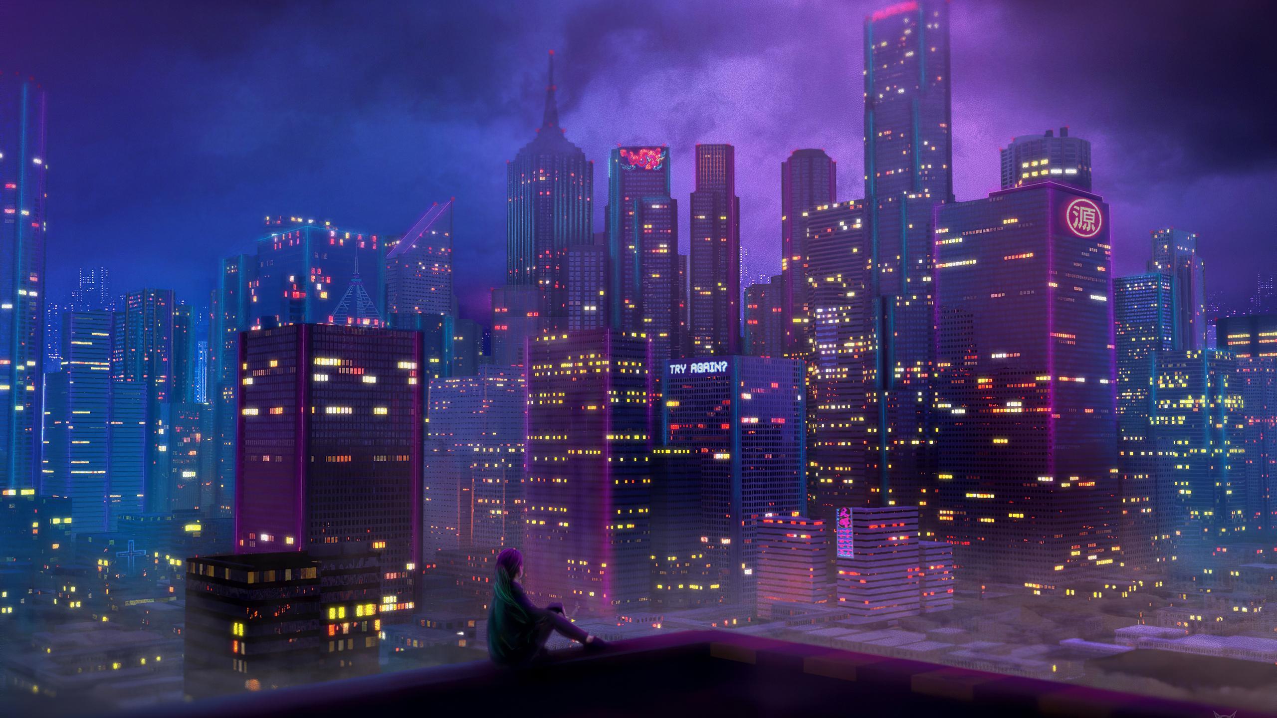2560x1440 Anime City Girl 4k 1440P Resolution HD 4k ...