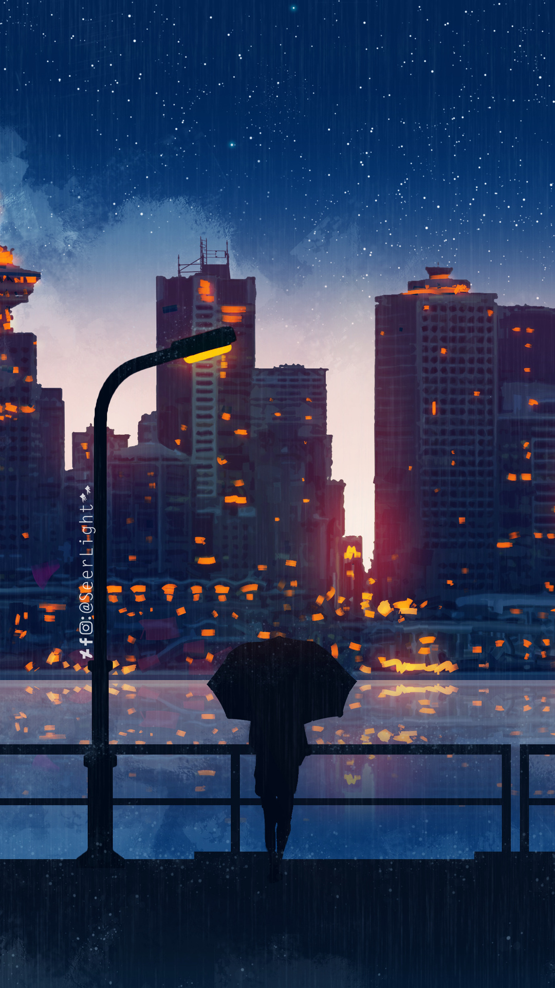 1080x1920 Anime City Lights Night Rain Umbrella Sky 5k Iphone 7 6s