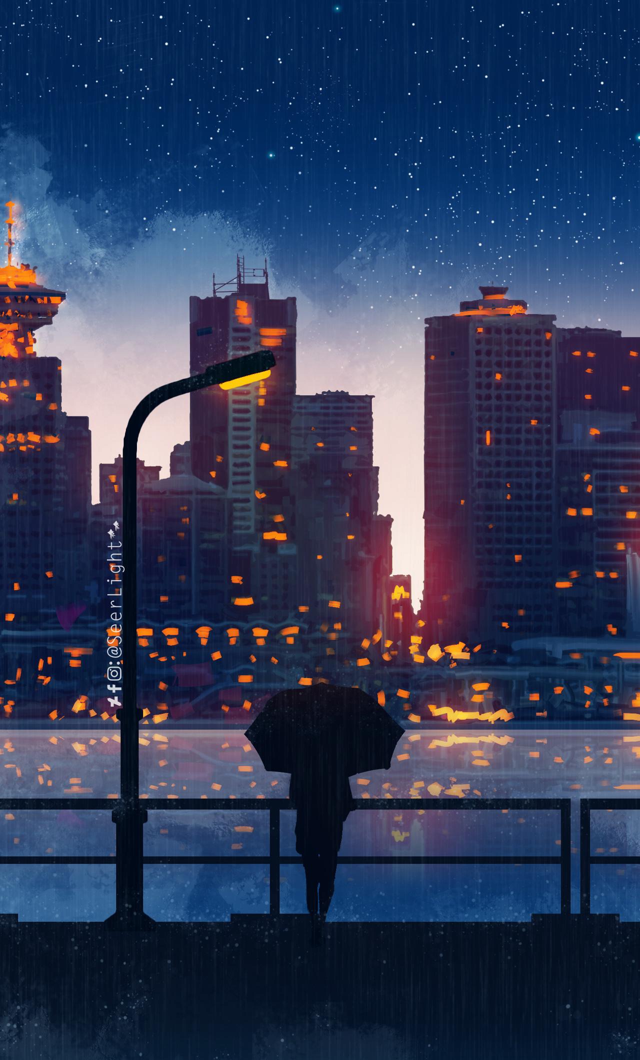 1280x2120 Anime City Lights Night Rain Umbrella Sky 5k ...