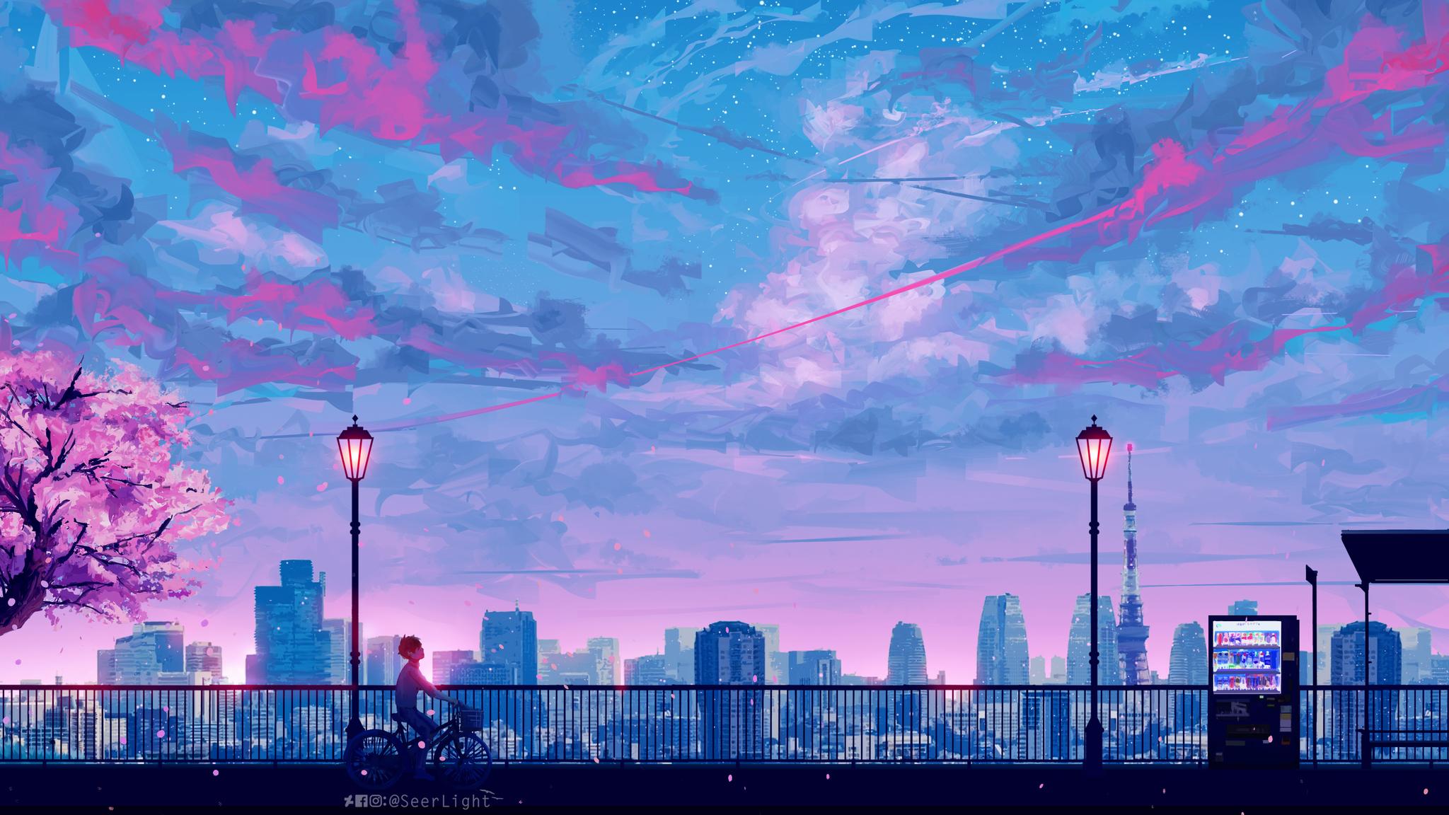 2048x1152 Anime Cityscape Landscape Scenery 5k 2048x1152
