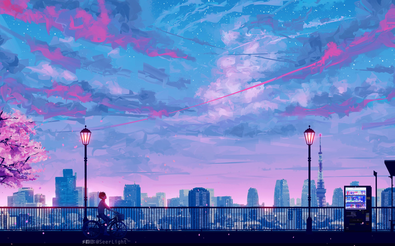 2880x1800 Anime Cityscape Landscape Scenery 5k Macbook Pro