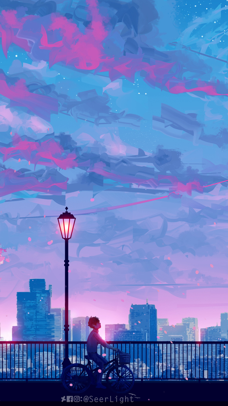 750x1334 Anime Cityscape Landscape Scenery 5k Iphone 6