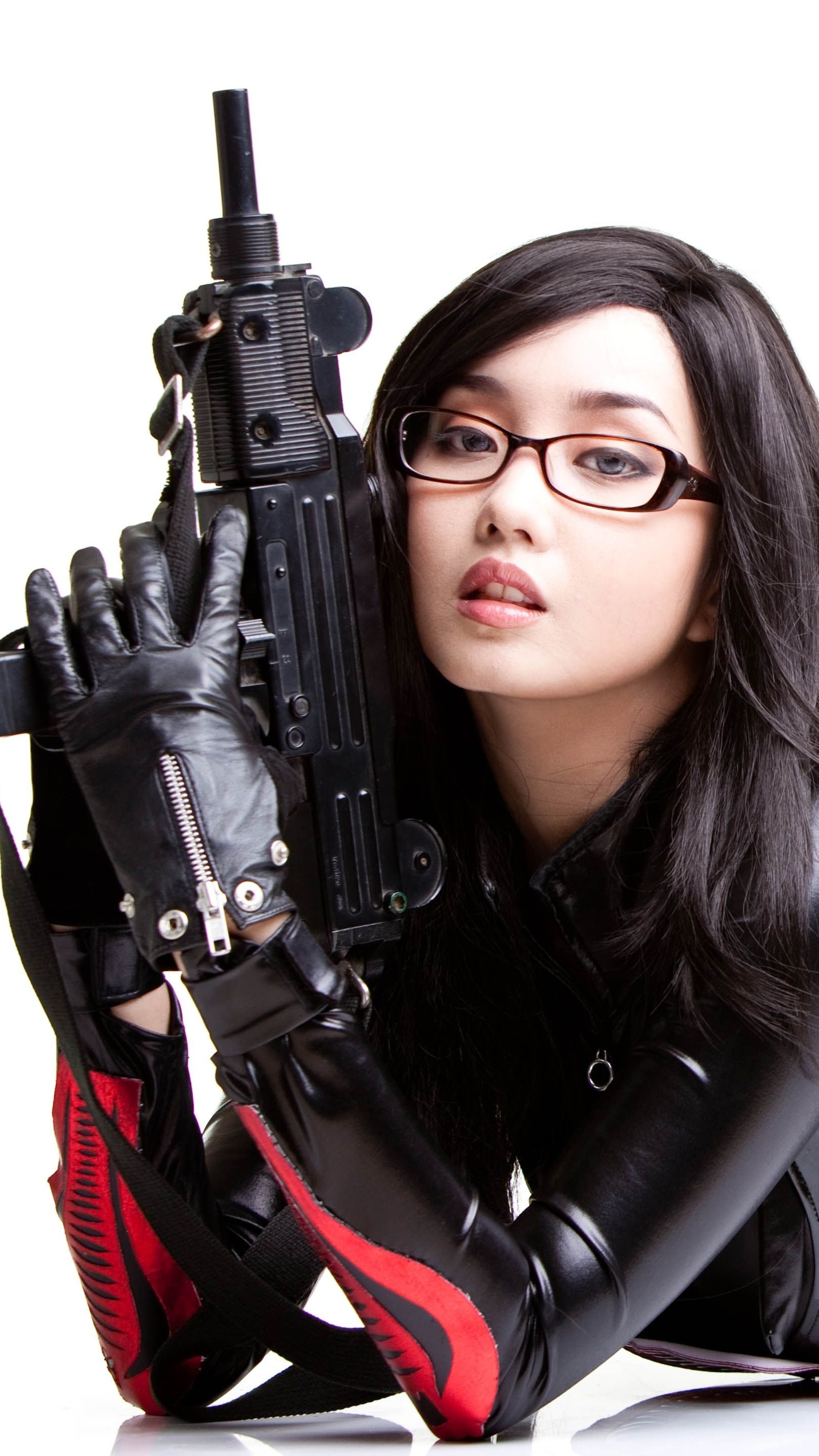 Accept. Cosplay girl with gun above told