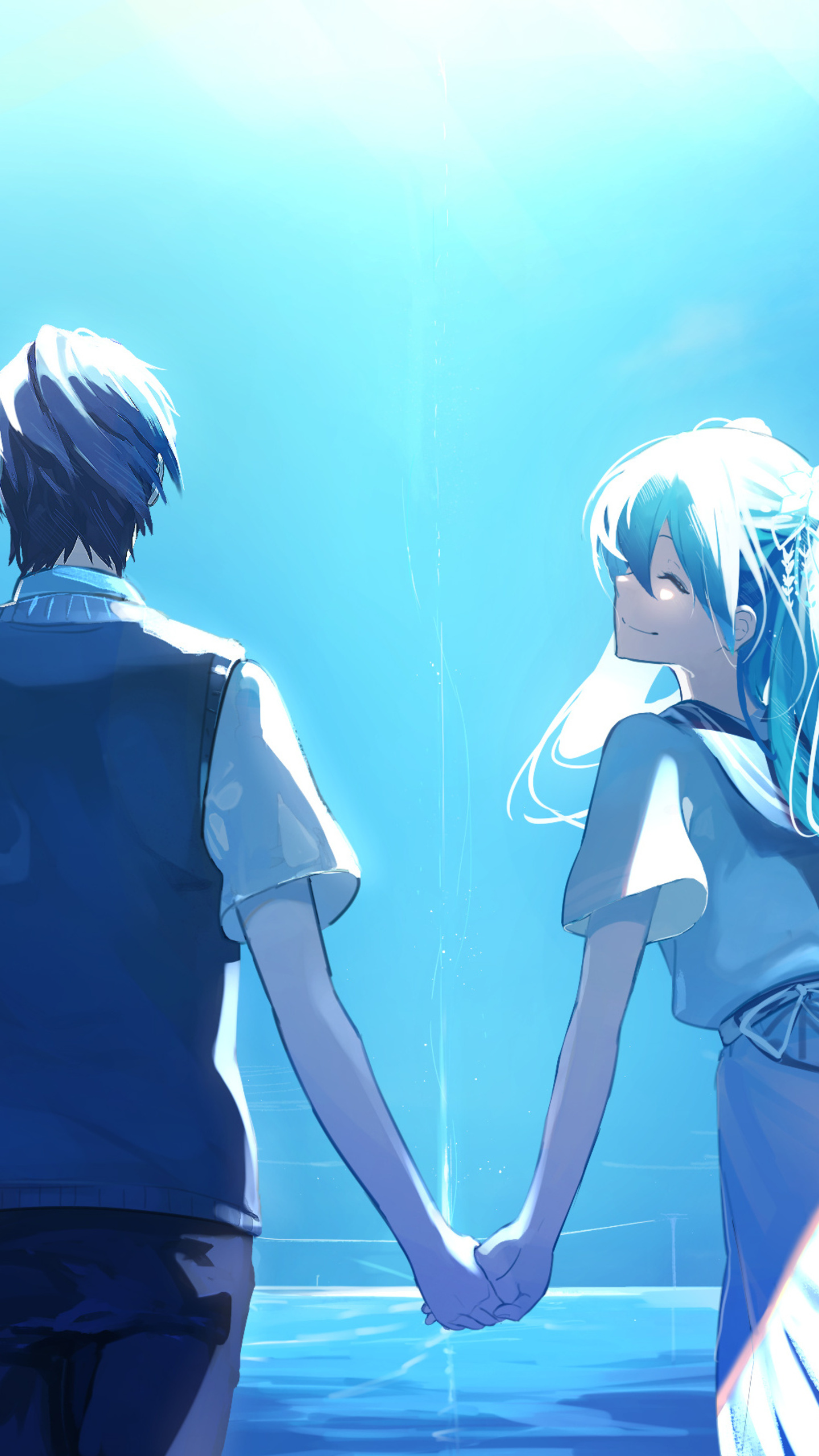 1440x2560 Anime Couple Holding Hands Hatsune Miku Samsung ...