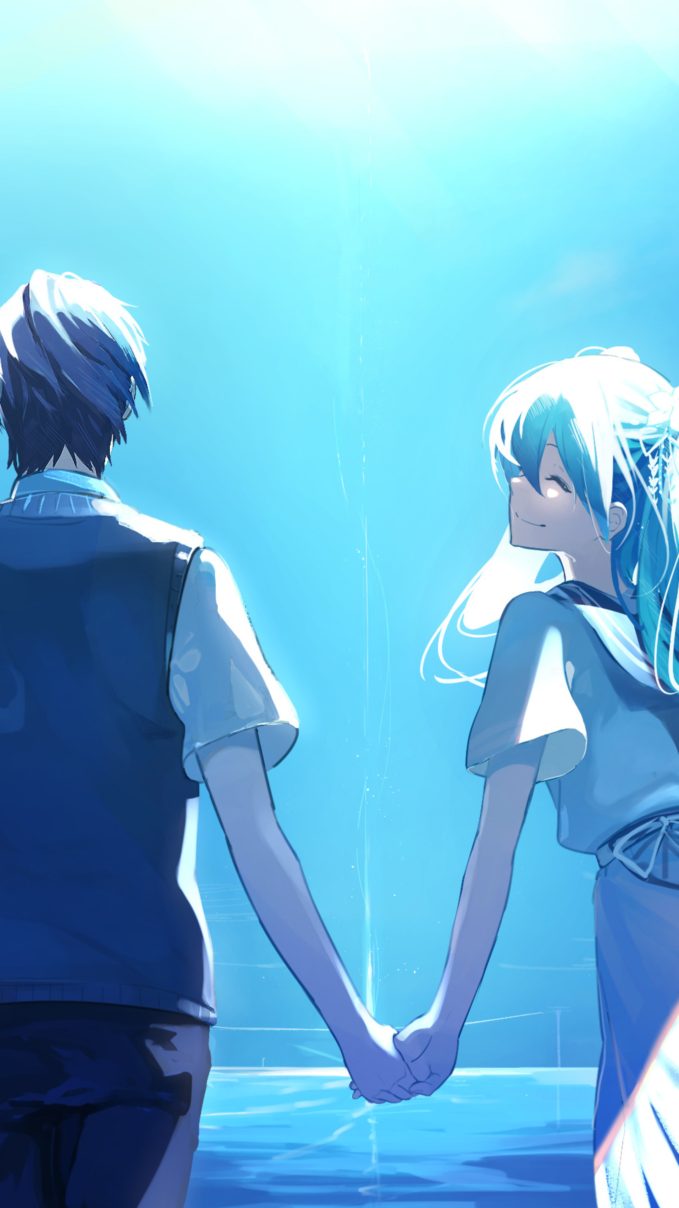2160x3840 Anime Couple Holding Hands Hatsune Miku Sony Xperia X Xz