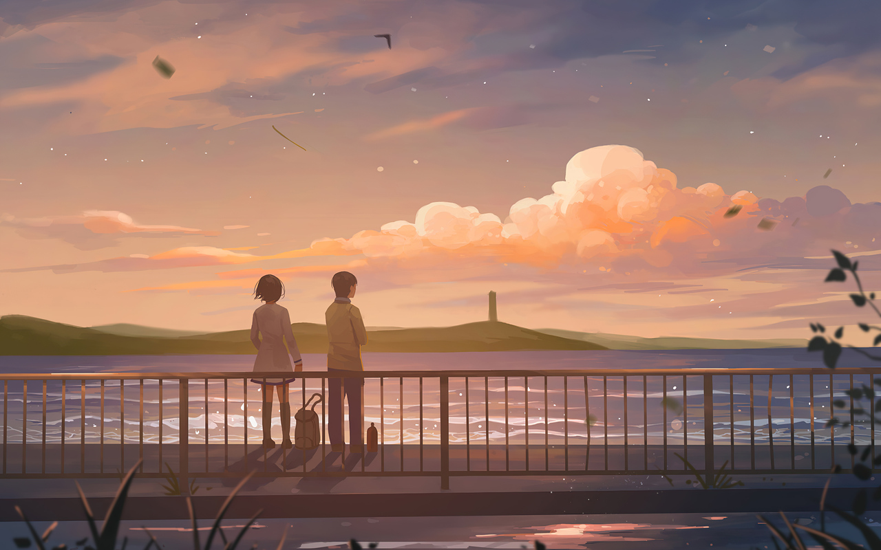 1280x800 Anime Couple Lets Talk 4k 720P HD 4k Wallpapers ...