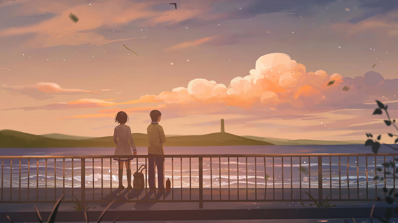 1600x900 Anime Couple Lets Talk 4k 1600x900 Resolution HD ...