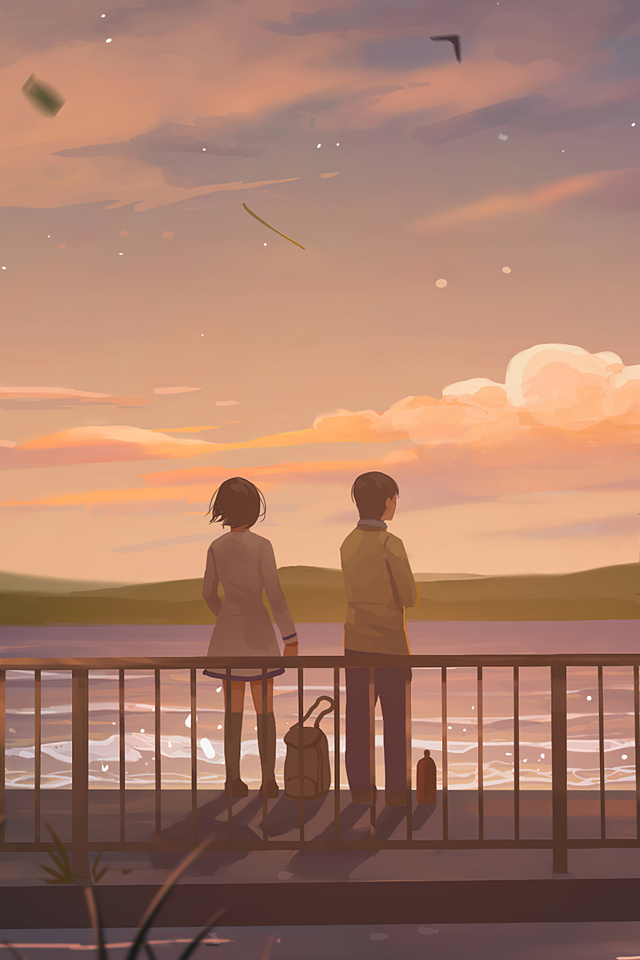 640x960 Anime Couple Lets Talk 4k iPhone 4, iPhone 4S HD ...