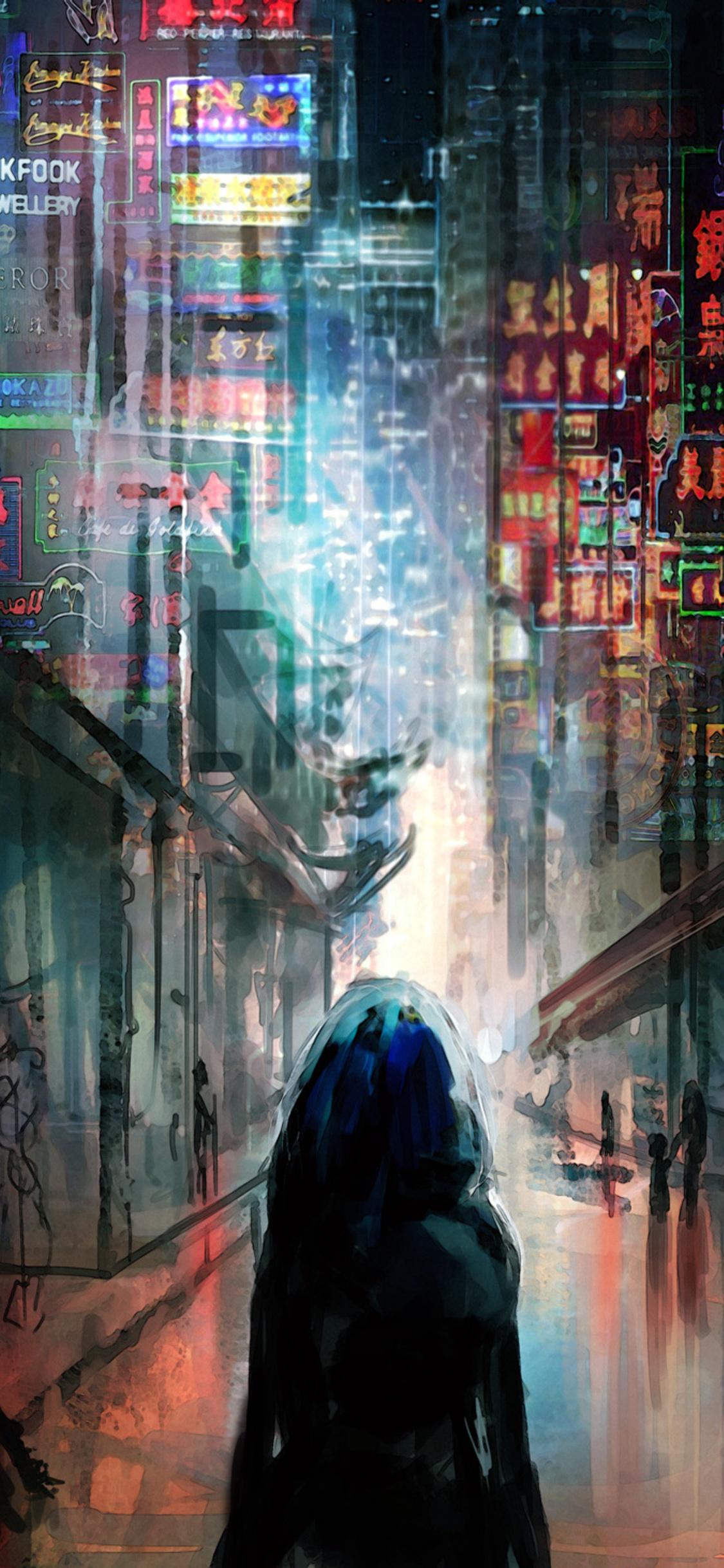 1125x2436 Anime Cyberpunk Scifi City Lights Night Buildings