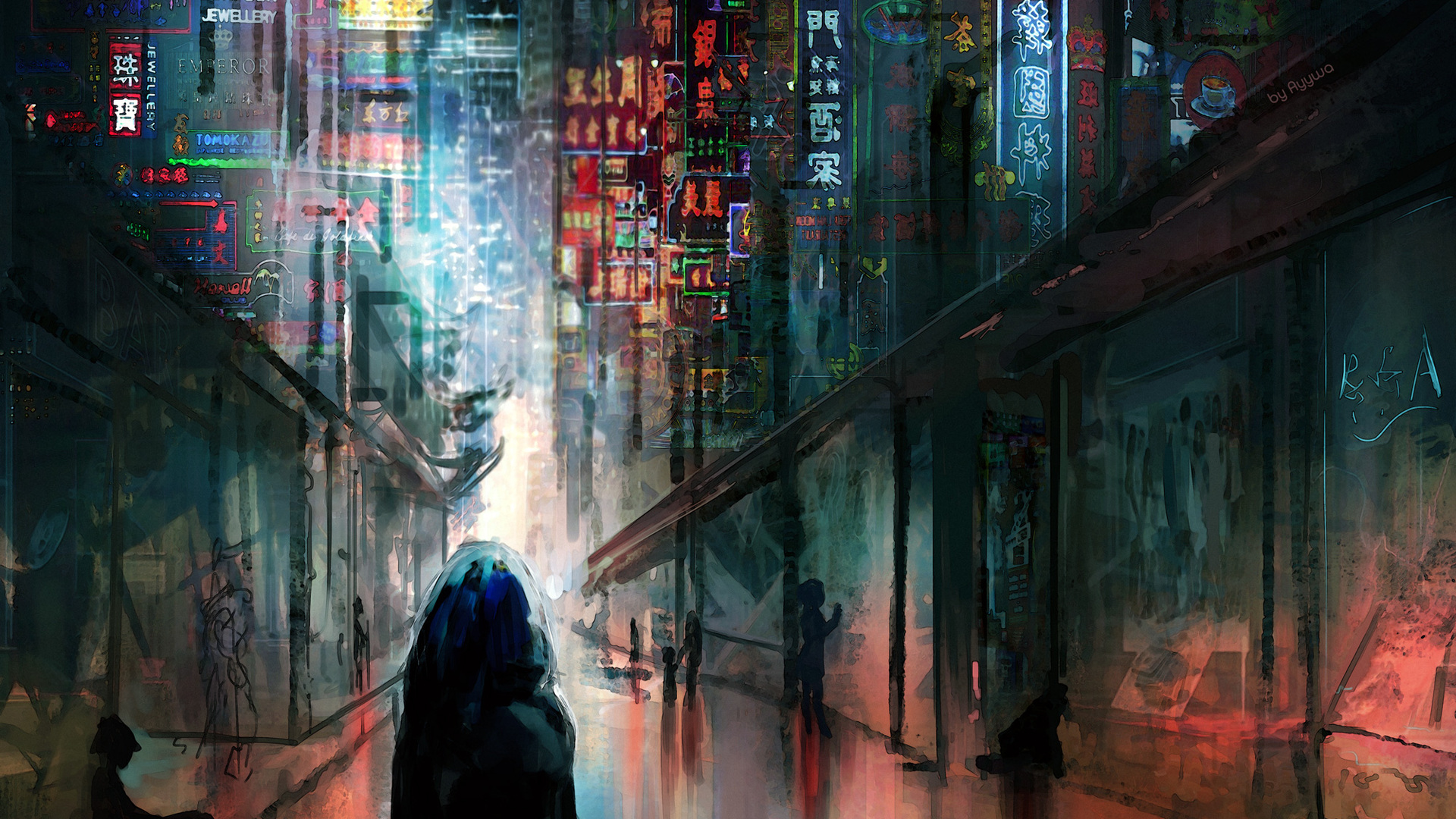 1920x1080 Anime Cyberpunk Scifi City Lights Night Buildings