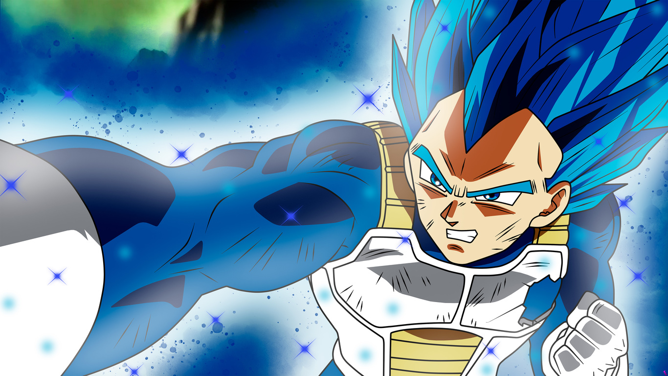 1366x768 anime dragon ball super vegeta ssj blue full power 1366x768
