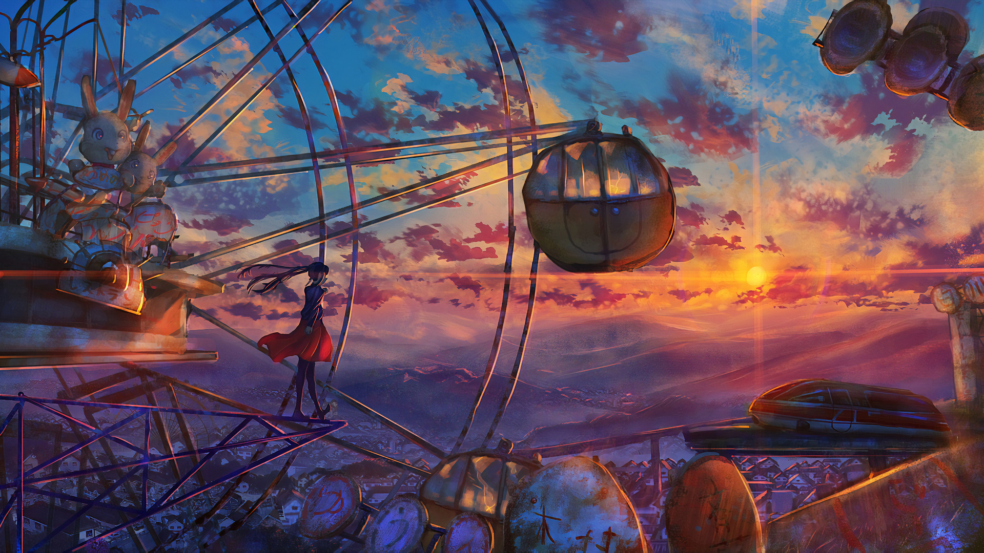 1920x1080 Anime Ferris Wheel Painting Laptop Full Hd 1080p